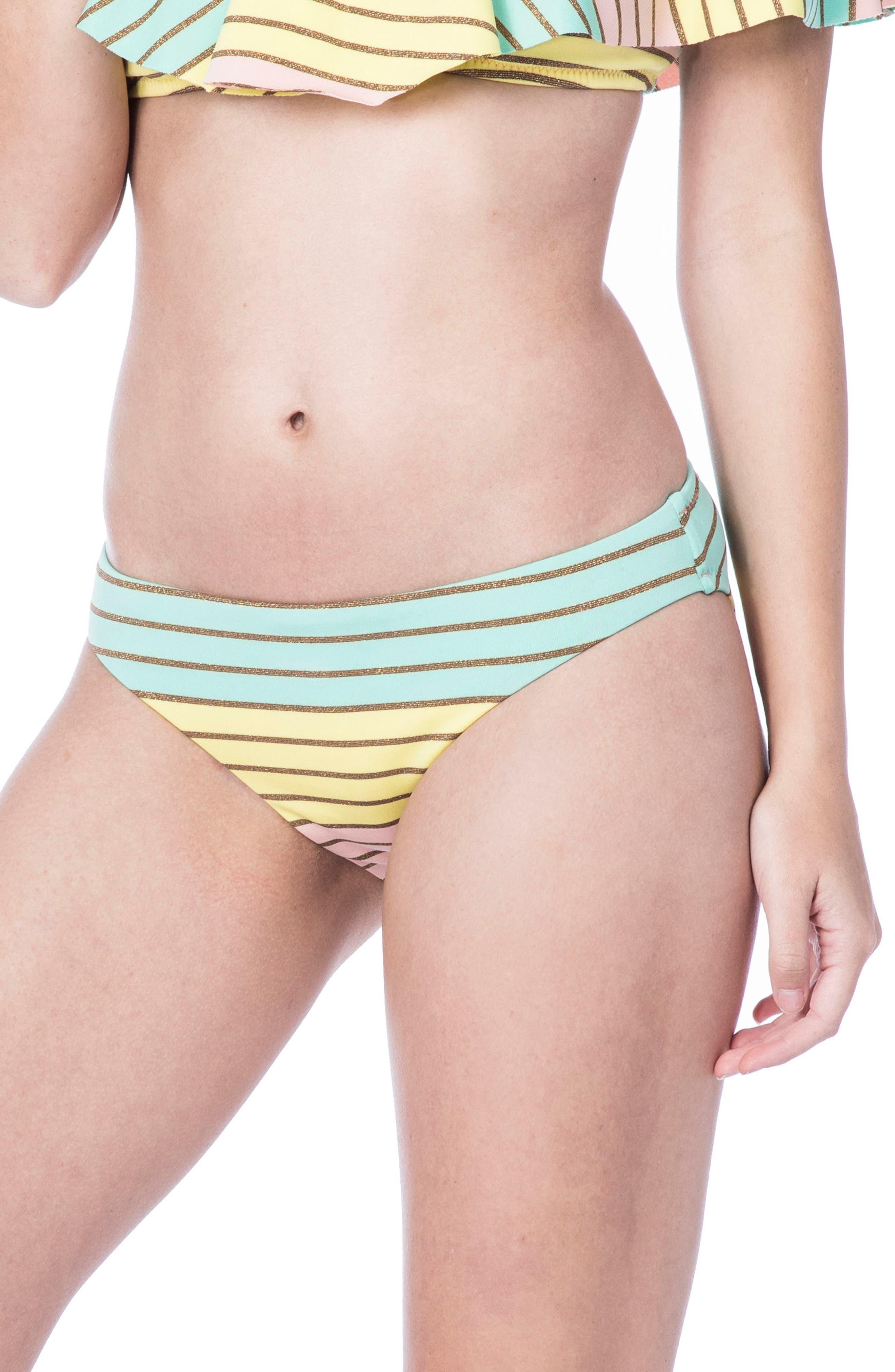 Metallic Stripe Hipster Bikini Bottom,                         Main,                         color, Multi-Colored