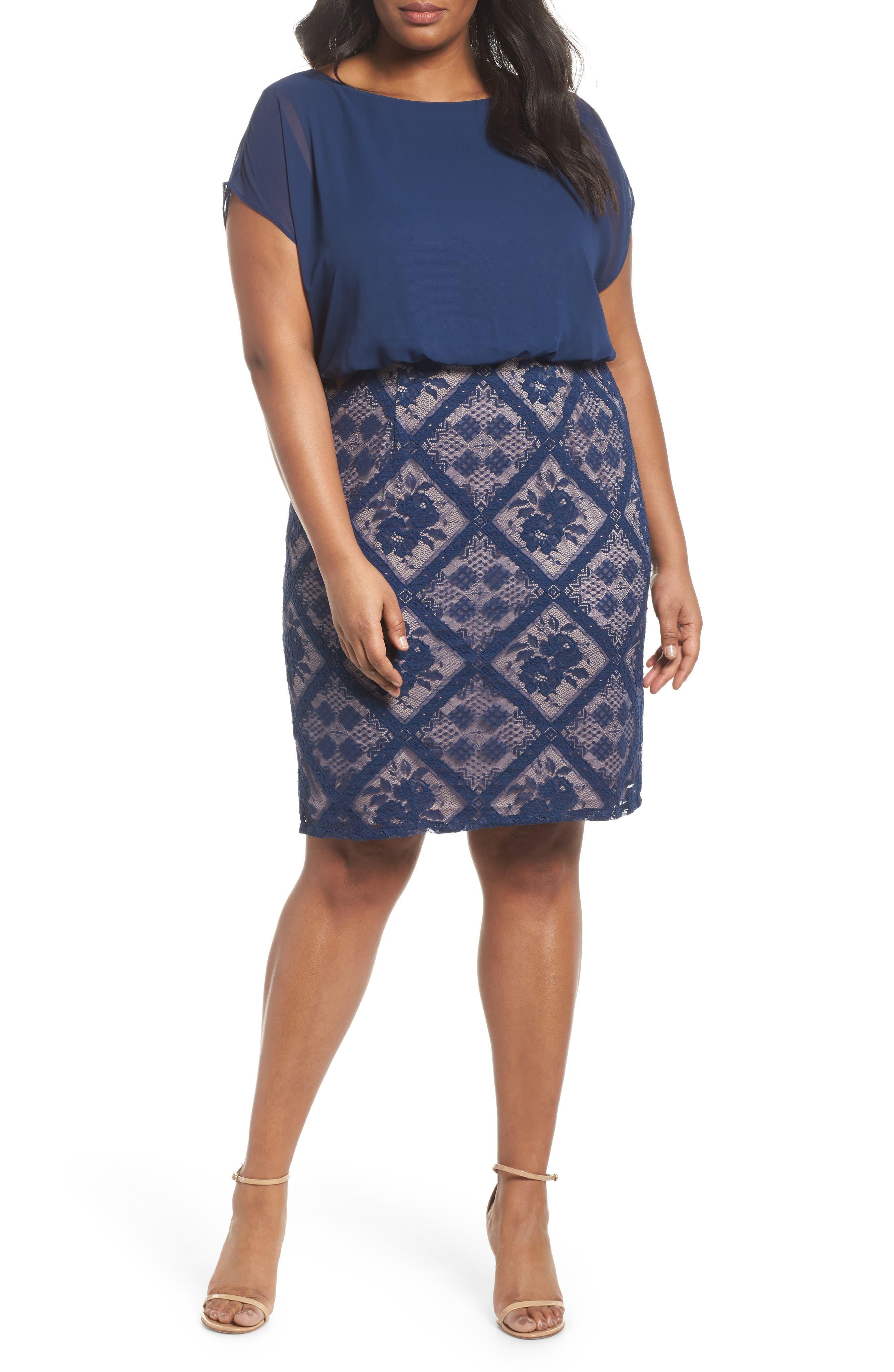 Main Image - Adrianna Papell Chiffon & Lace Blouson Dress (Plus Size)