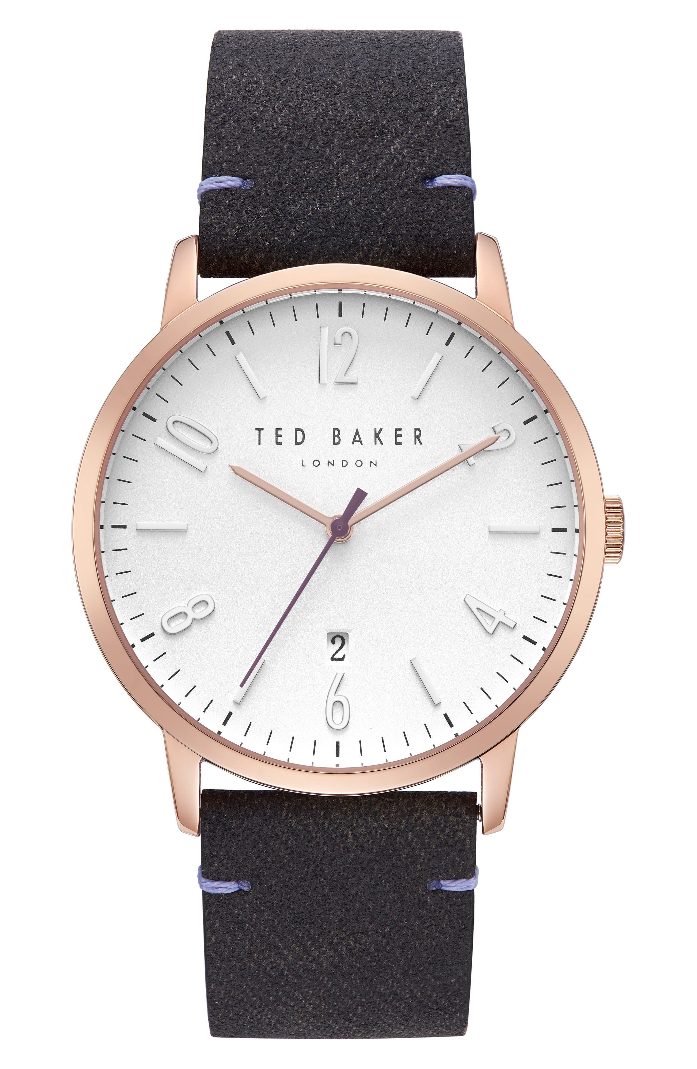 Daniel Synthetic Strap Watch, 42mm,                         Main,                         color, Silver/ Black