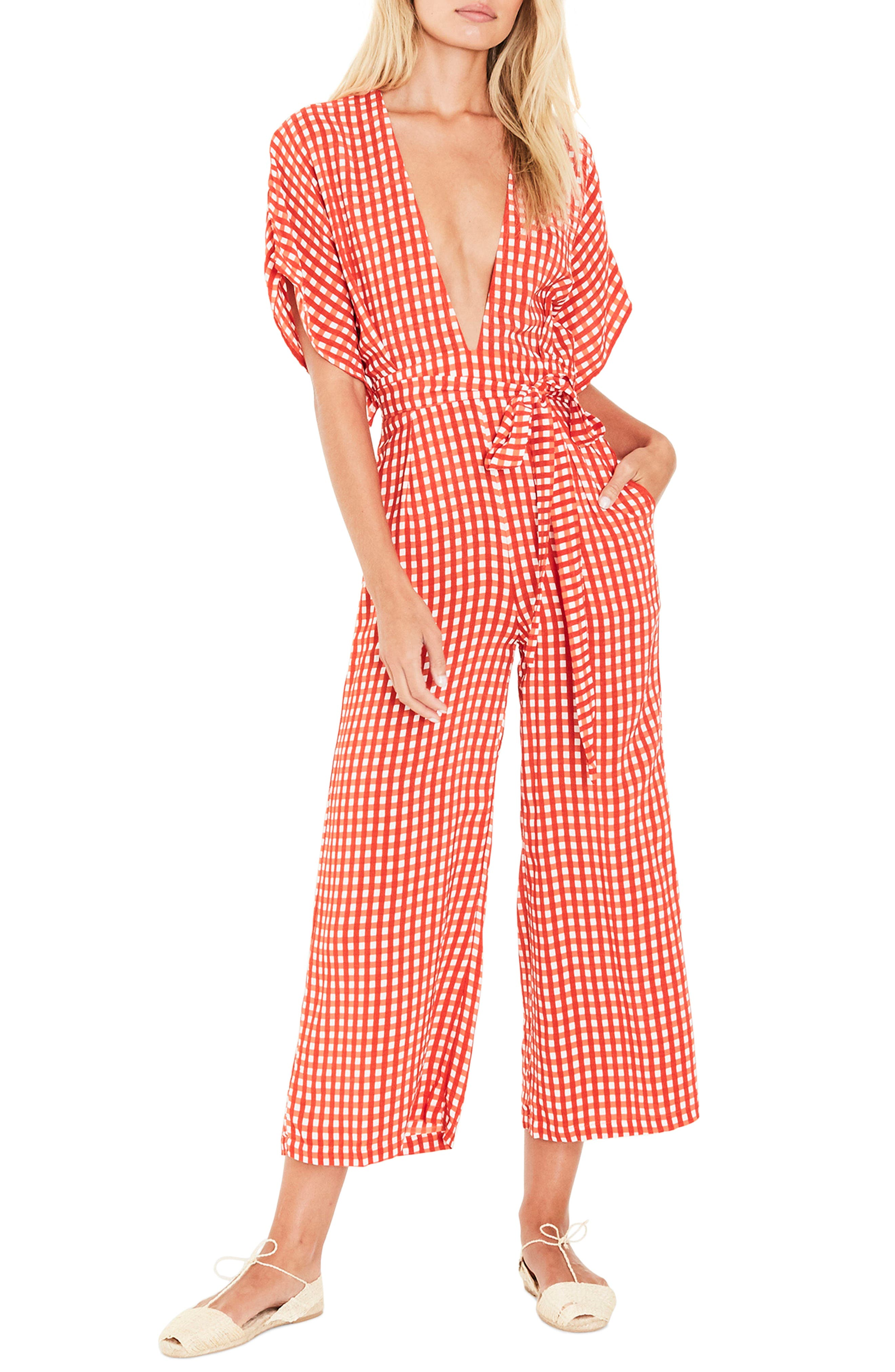 Alternate Image 1 Selected - FAITHFULL THE BRAND Cedric Gingham Plunge Neck Jumpsuit