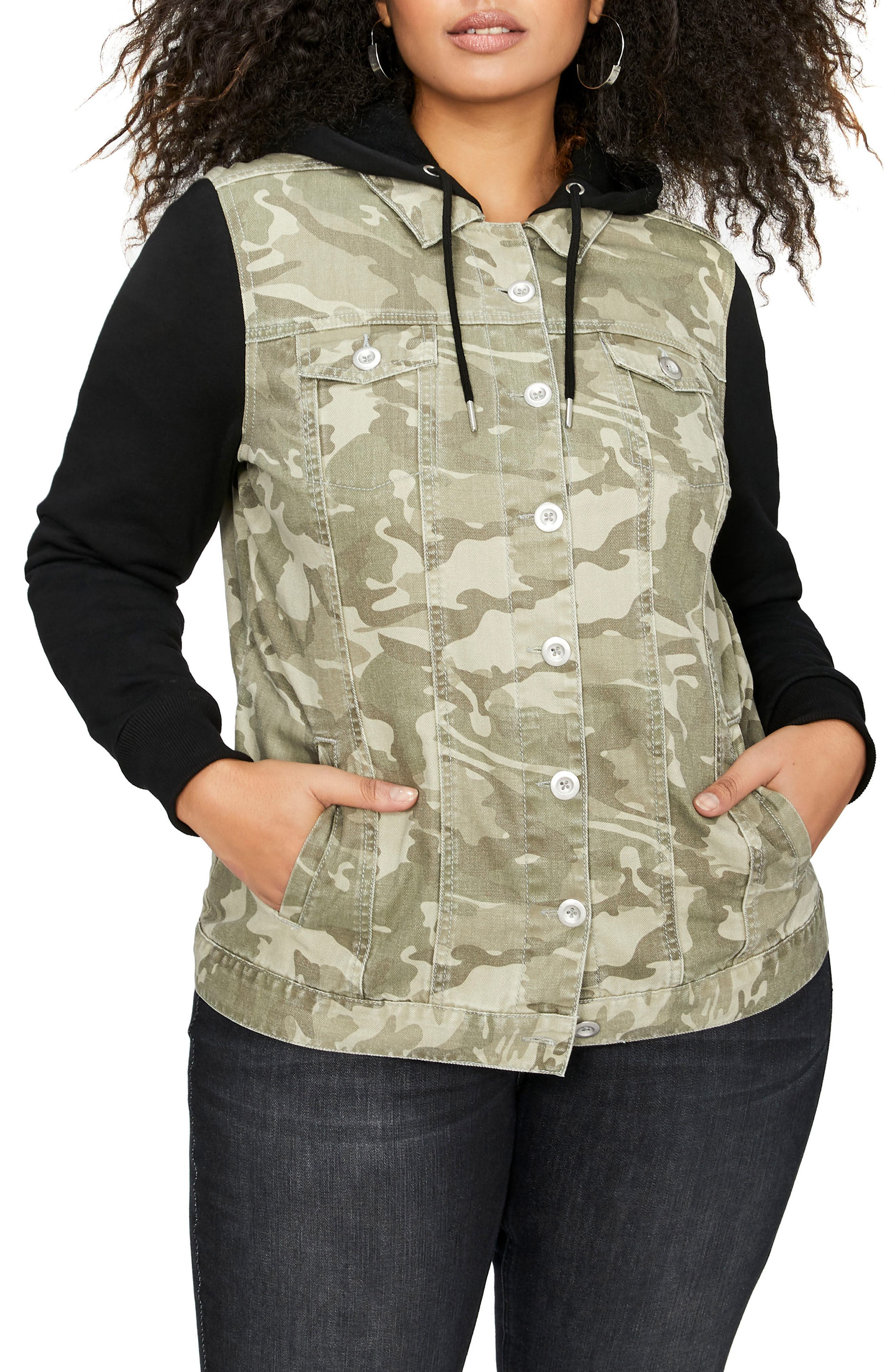 Main Image - ADDITION ELLE LOVE AND LEGEND Hooded Camo Jacket with Knit Sleeves (Plus Size)