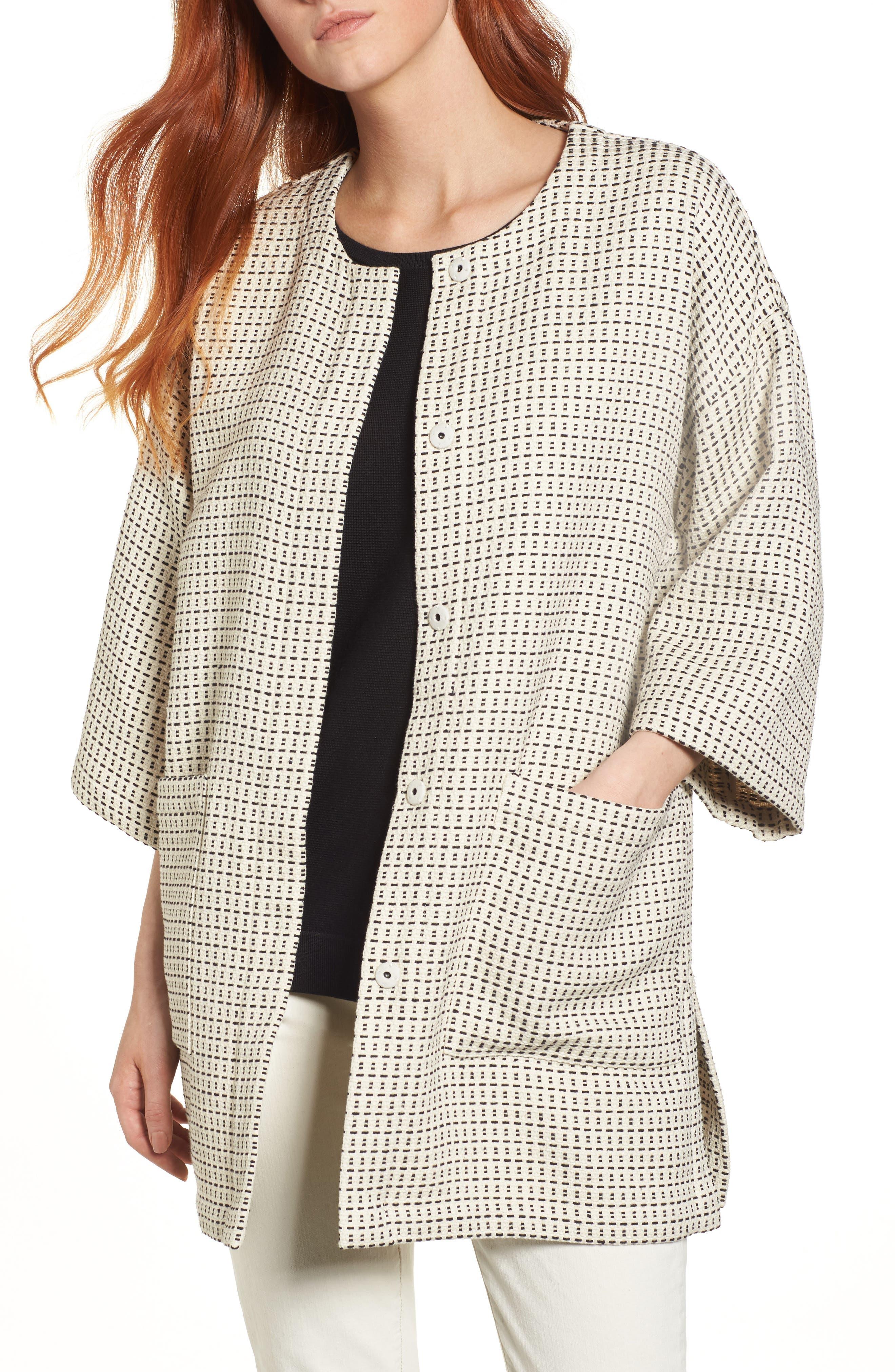 Round Neck Kimono Jacket,                         Main,                         color, Ecru