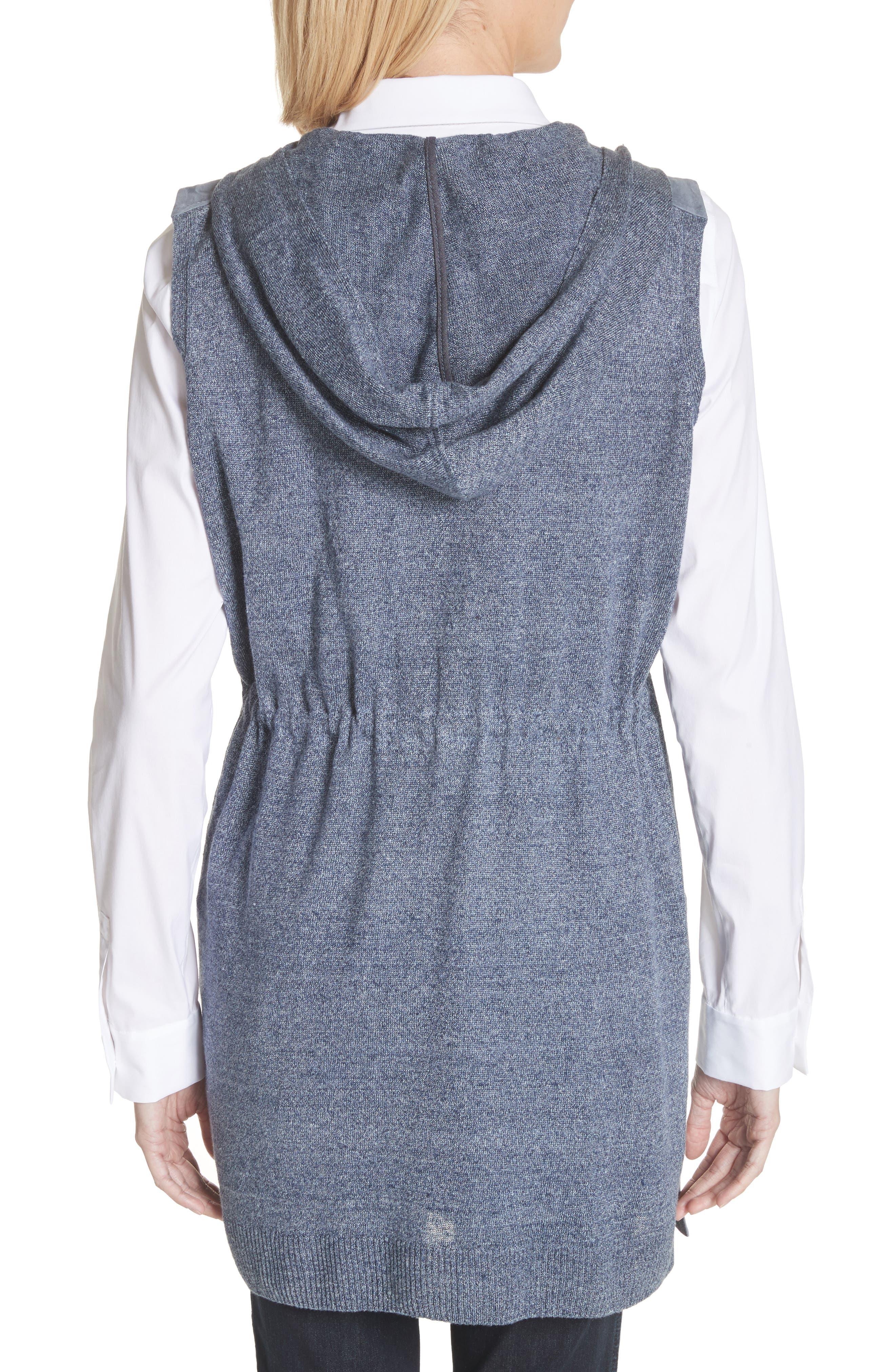 Salma Suede Front Longline Vest,                             Alternate thumbnail 2, color,                             Celestial Blue