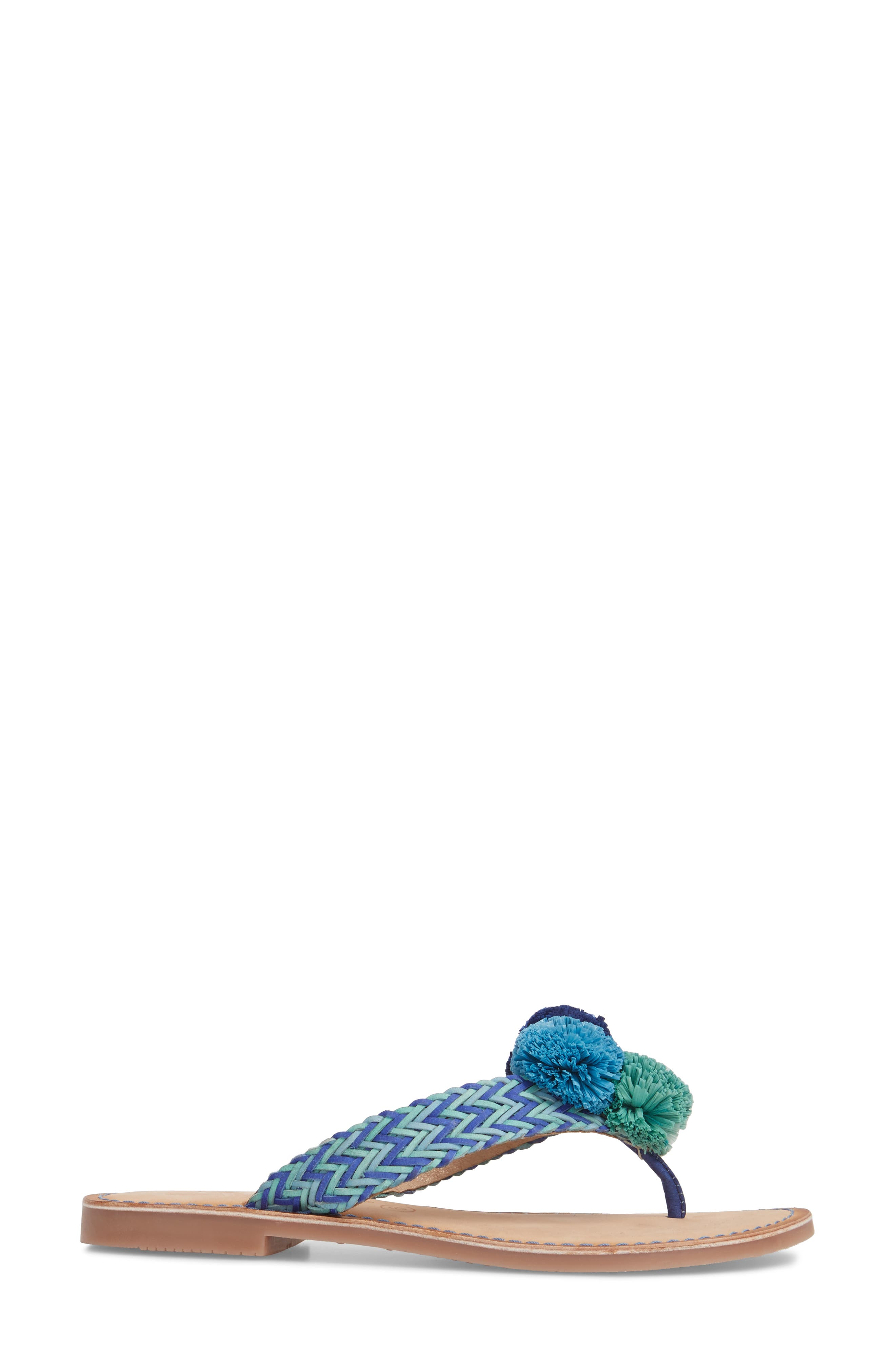 Pomm Flip Flop,                             Alternate thumbnail 3, color,                             Blue Leather