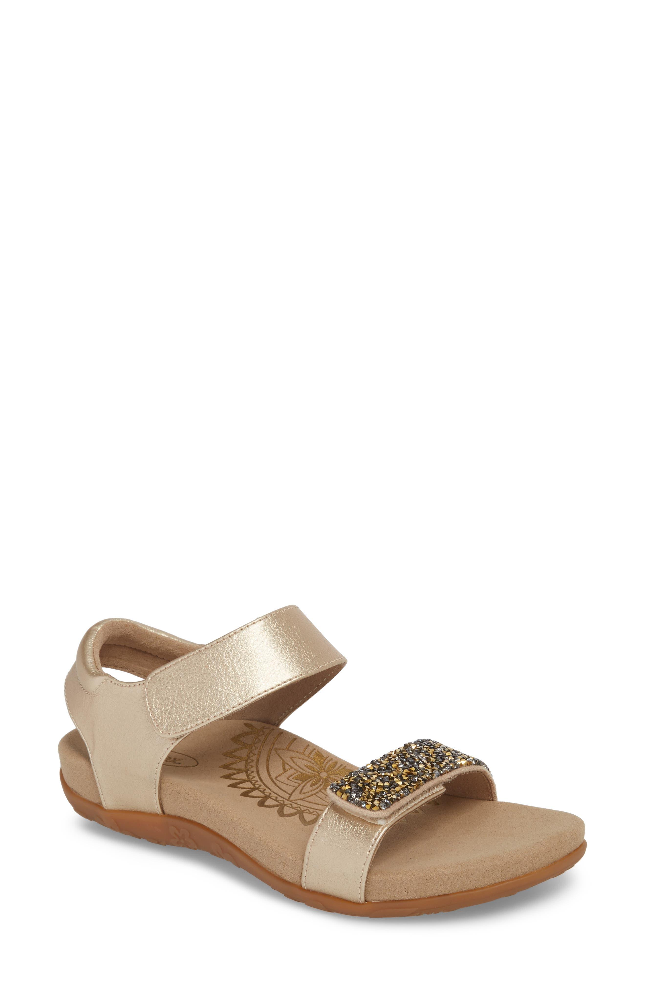 Maria Embellished Sandal,                         Main,                         color, Gold Leather