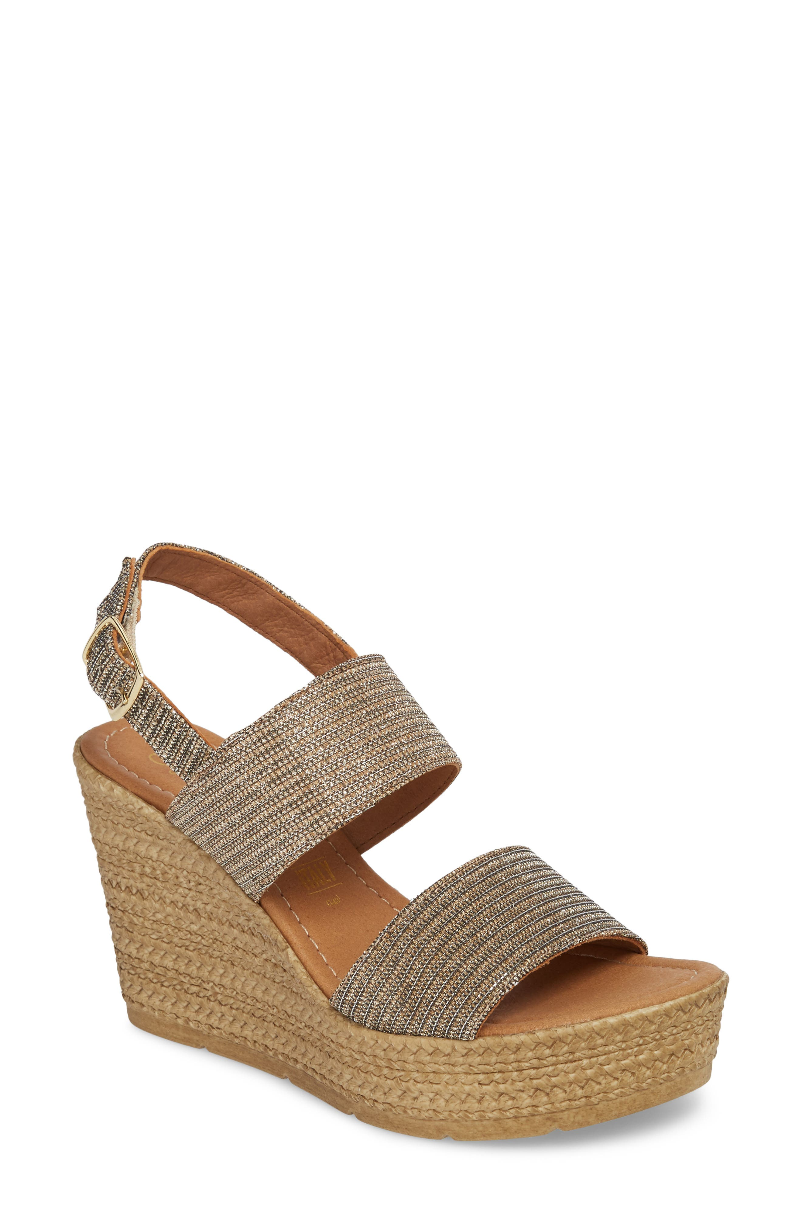 Downtime Wedge Sandal,                             Main thumbnail 1, color,                             Bronze Metallic Fabric