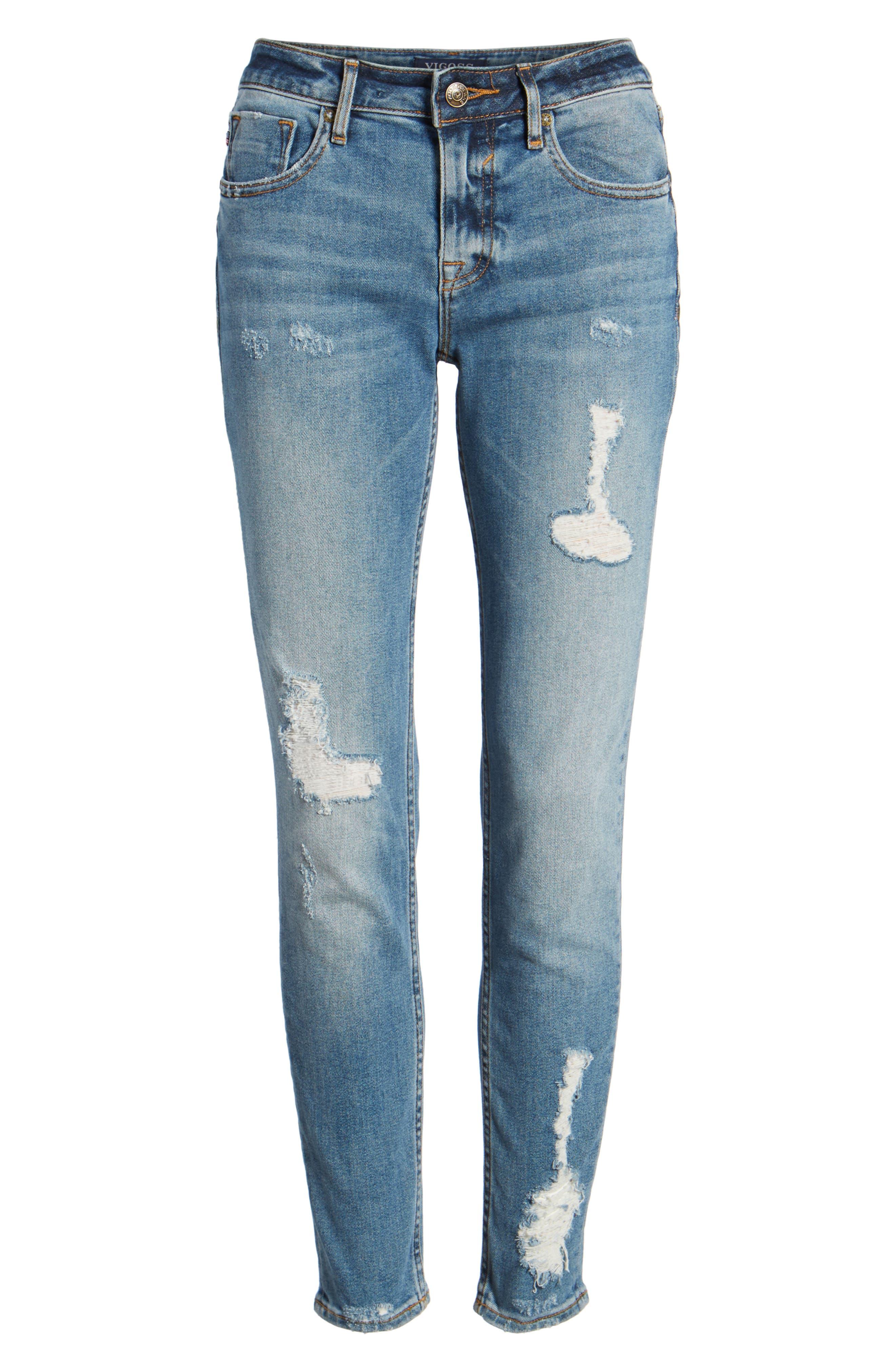 Jagger Decon Distressed Skinny Jeans,                             Alternate thumbnail 7, color,                             Medium Wash