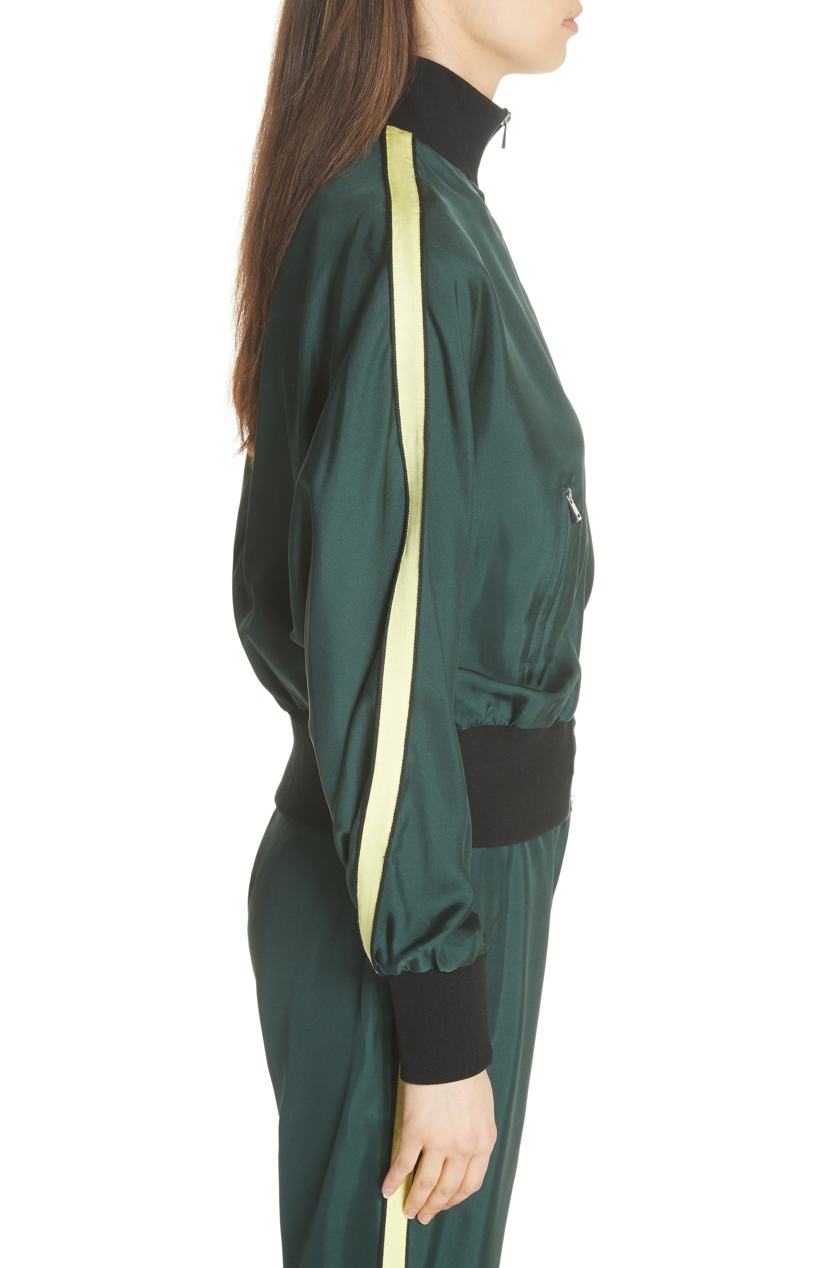 Silk Track Jacket,                             Alternate thumbnail 6, color,                             Green
