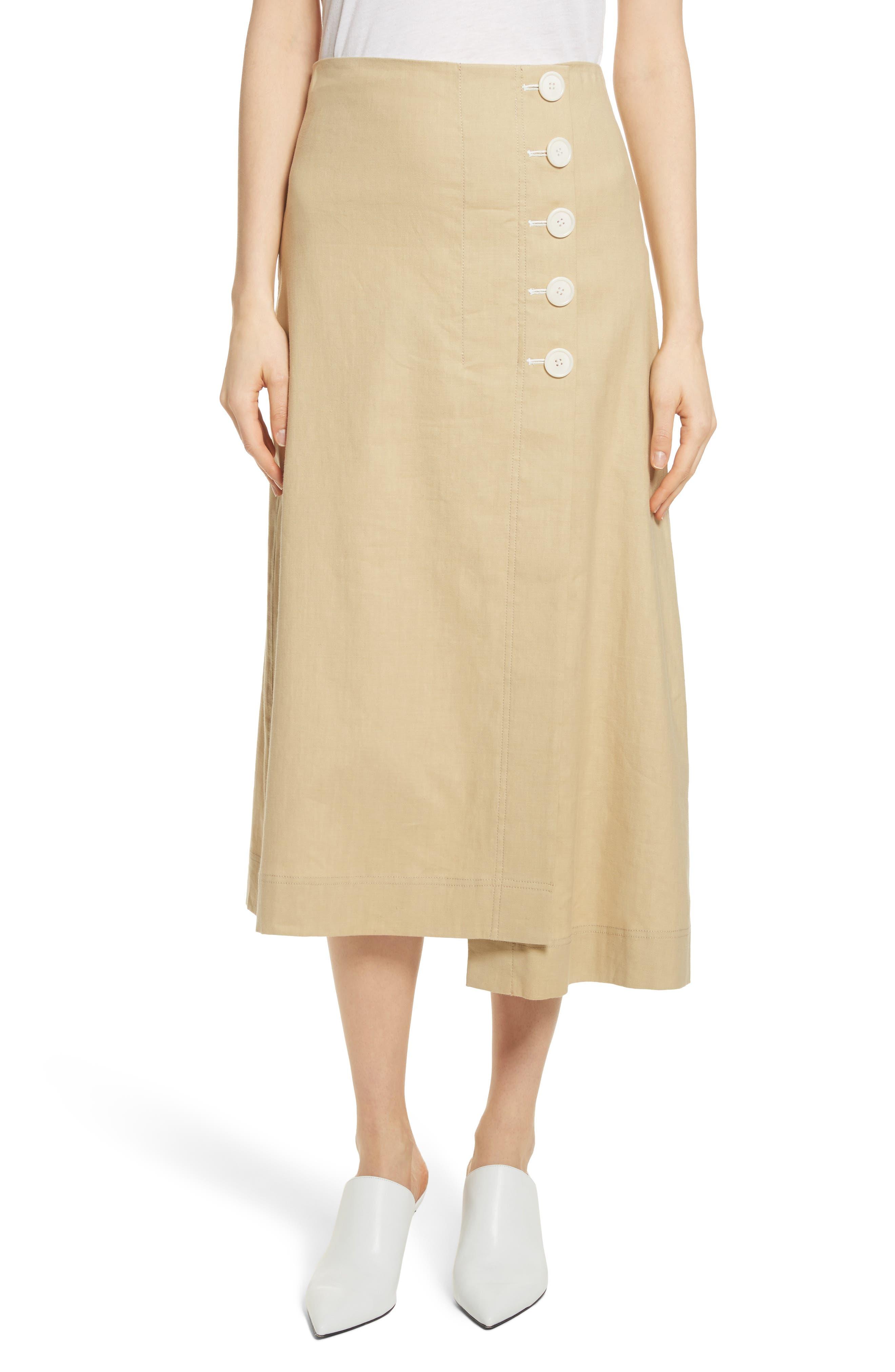 Robert Rodriguez Flare Linen Blend Skirt