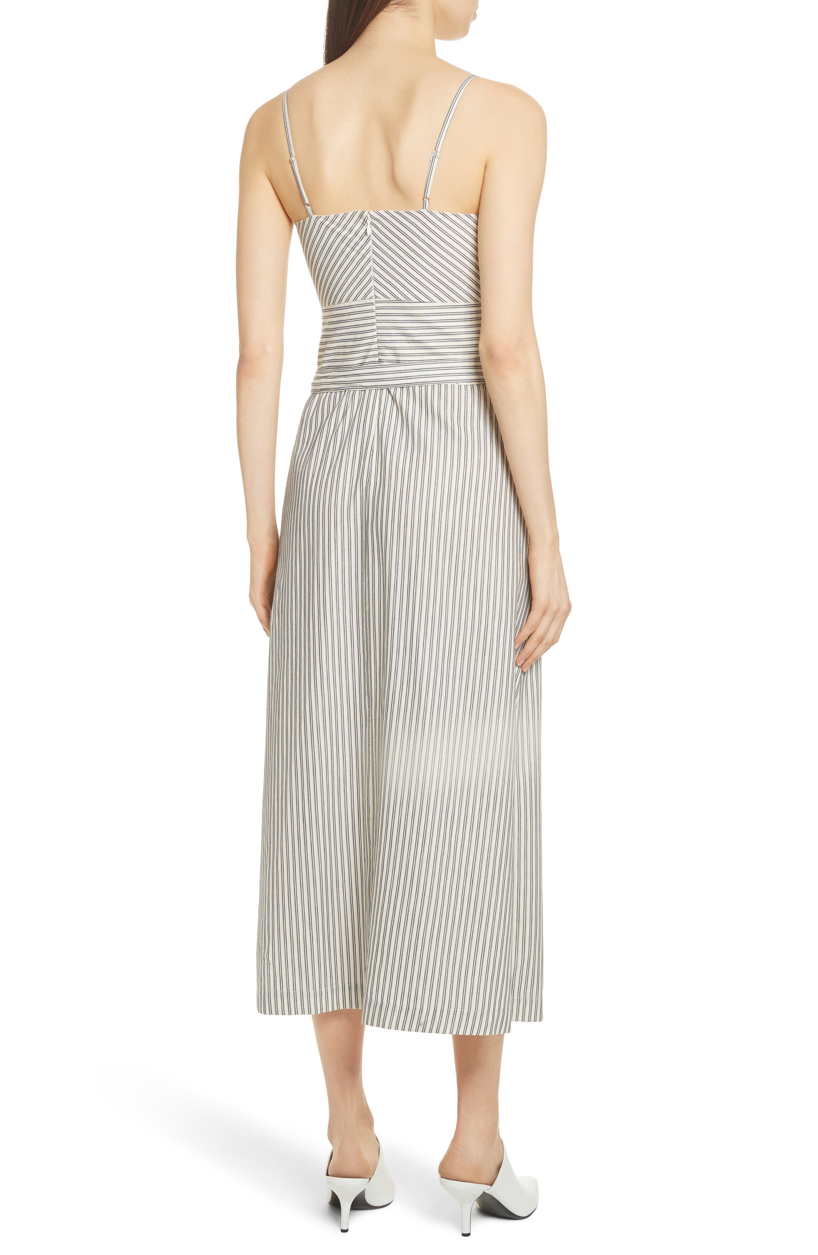 Stripe Wrap Front Midi Dress,                             Alternate thumbnail 4, color,                             Blue/ Ivory Stripe