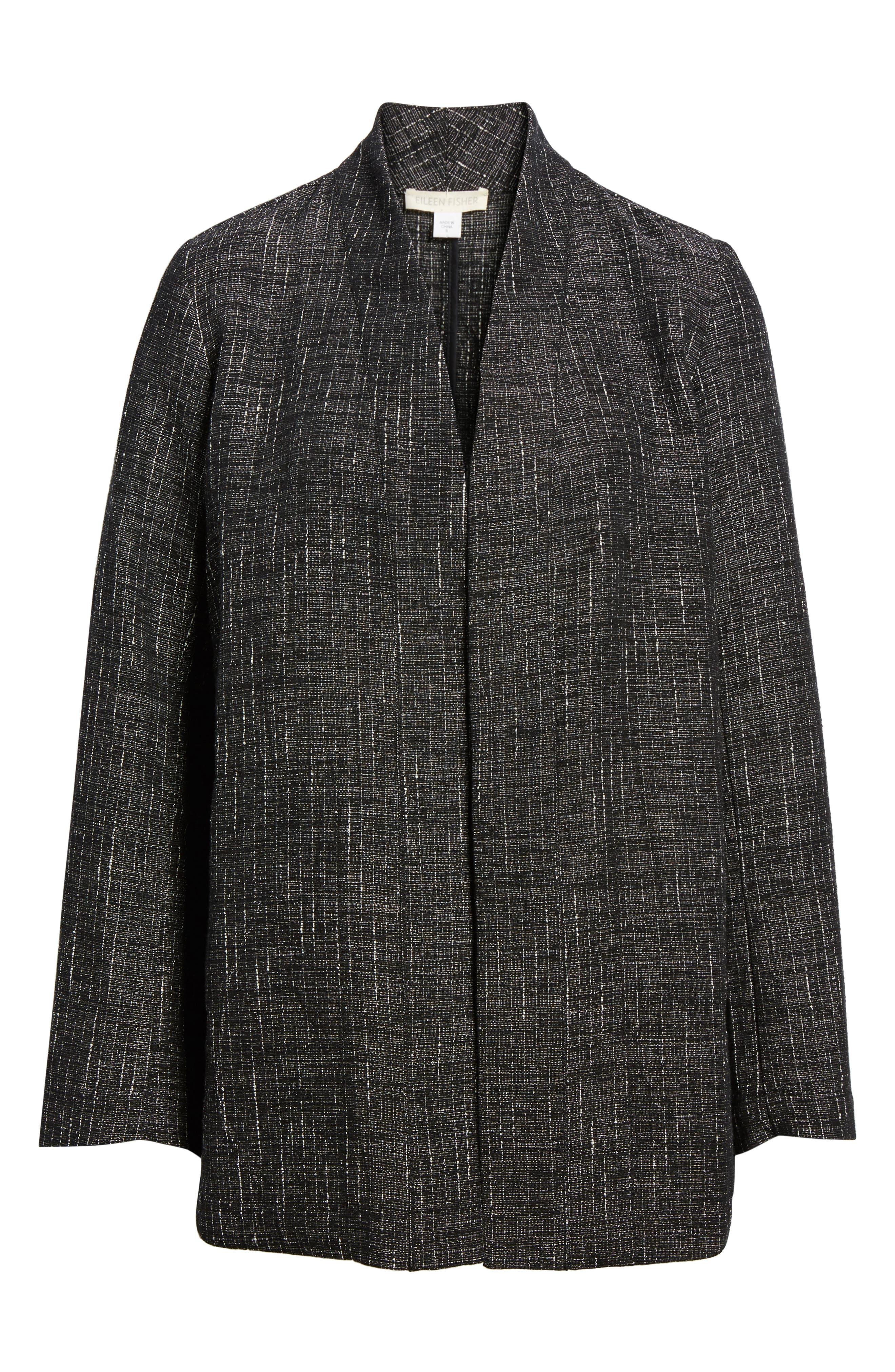 Stand Collar Kimono Jacket,                             Alternate thumbnail 6, color,                             Black