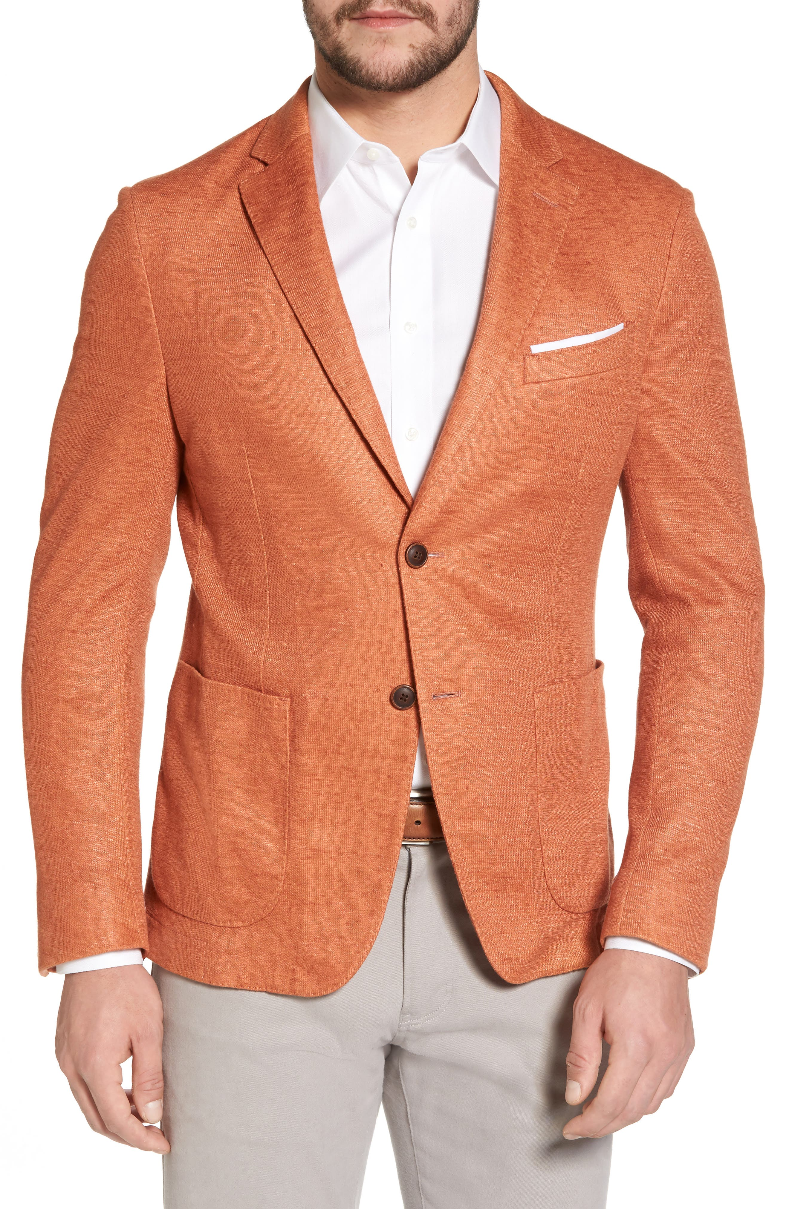 Trim Fit Heathered Jersey Blazer,                             Main thumbnail 1, color,                             Orange