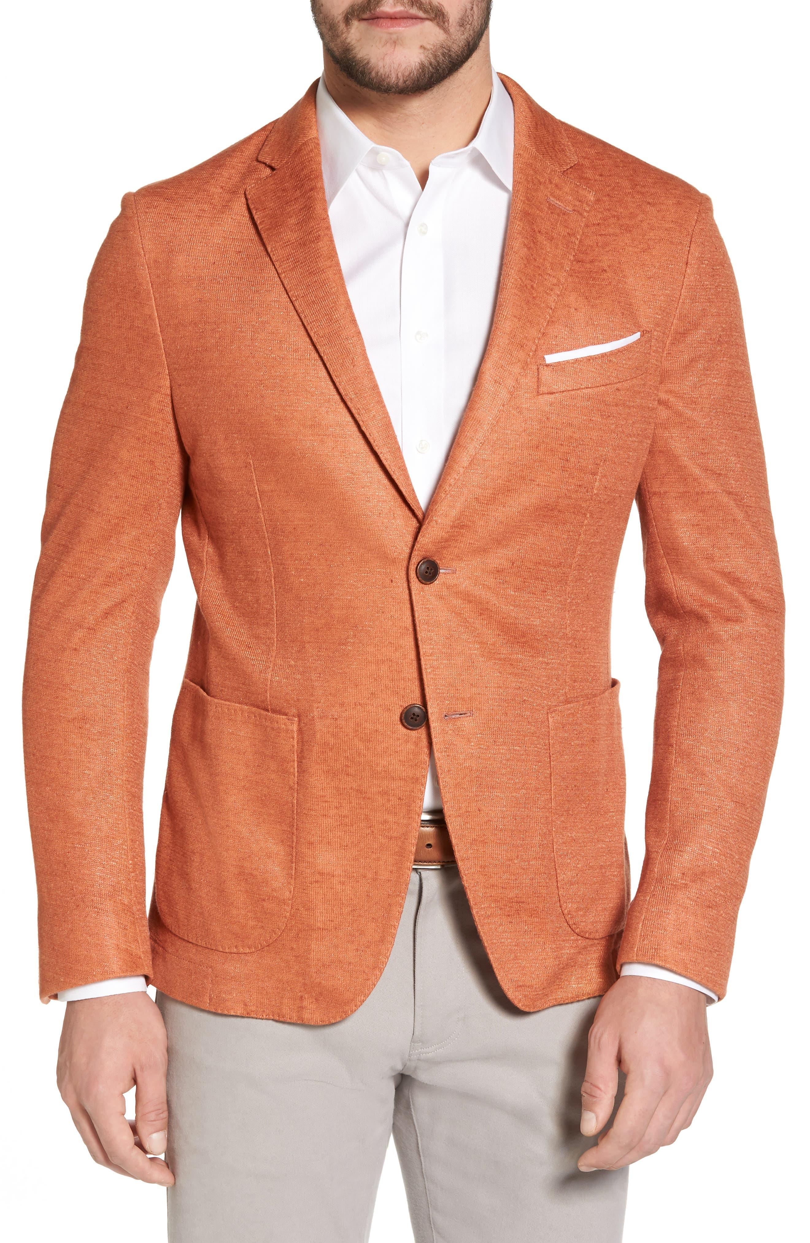 Trim Fit Heathered Jersey Blazer,                         Main,                         color, Orange