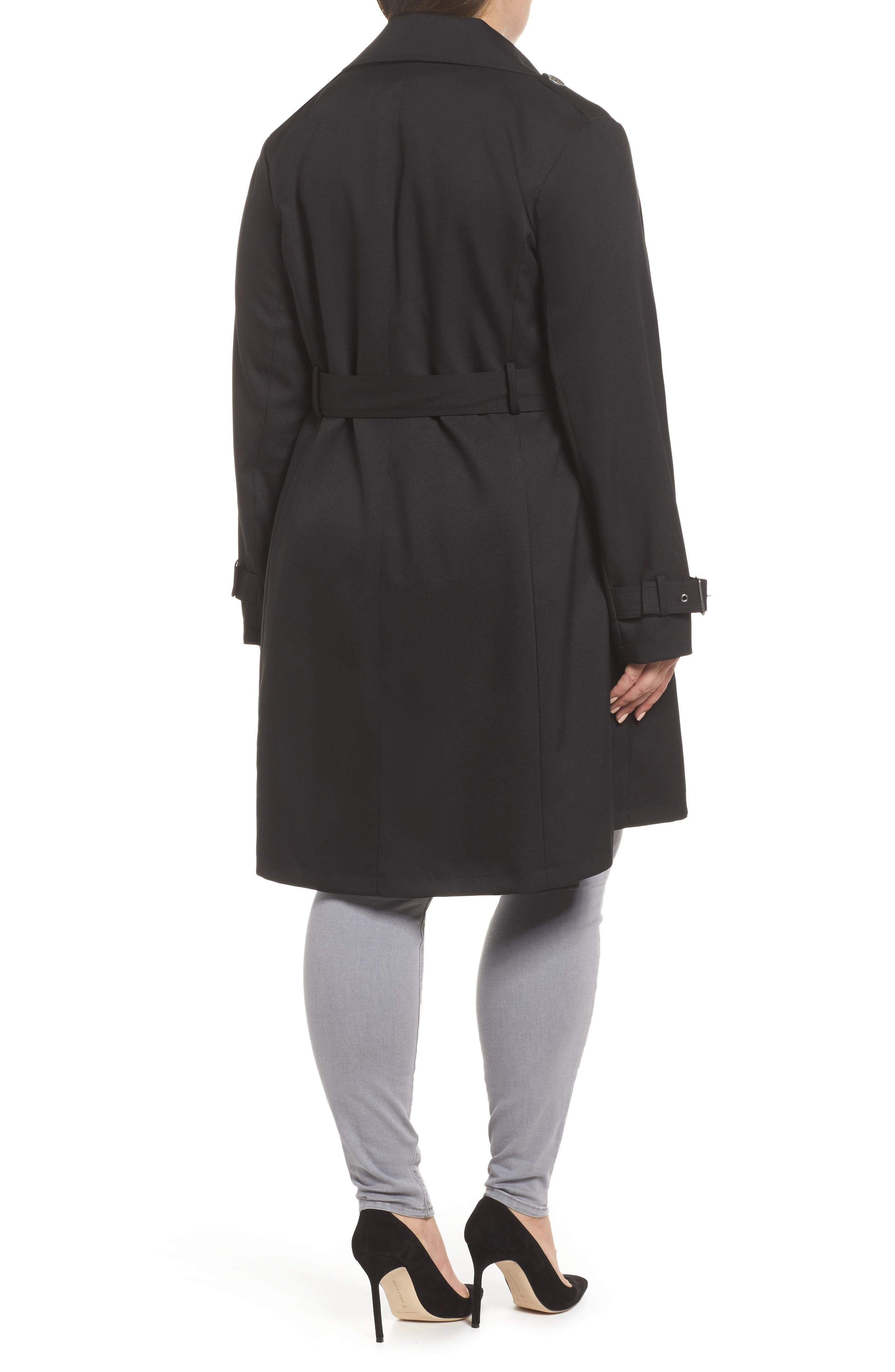 Flowy Belted Trench Coat,                             Alternate thumbnail 2, color,                             Black