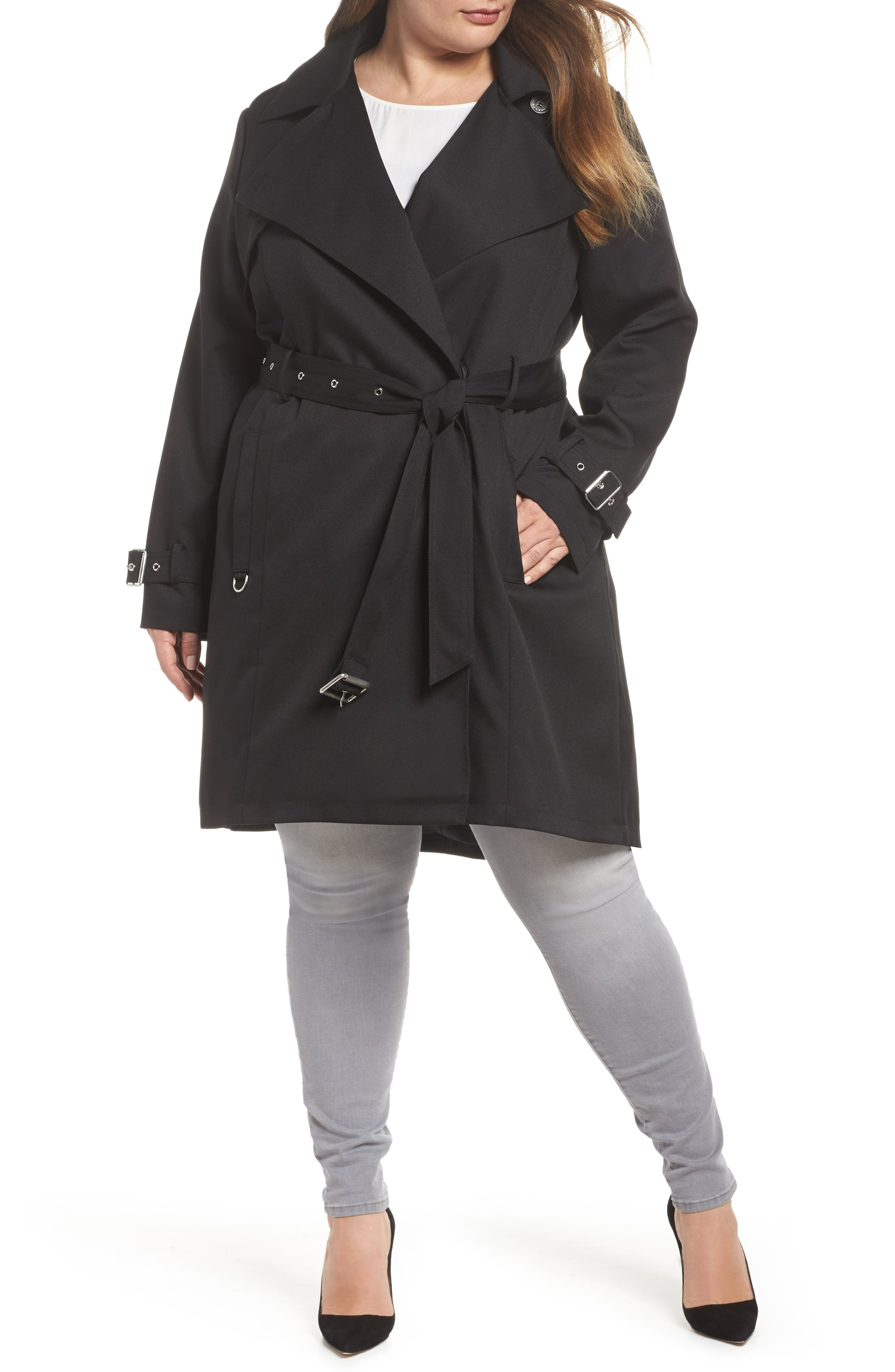 Flowy Belted Trench Coat,                             Main thumbnail 1, color,                             Black