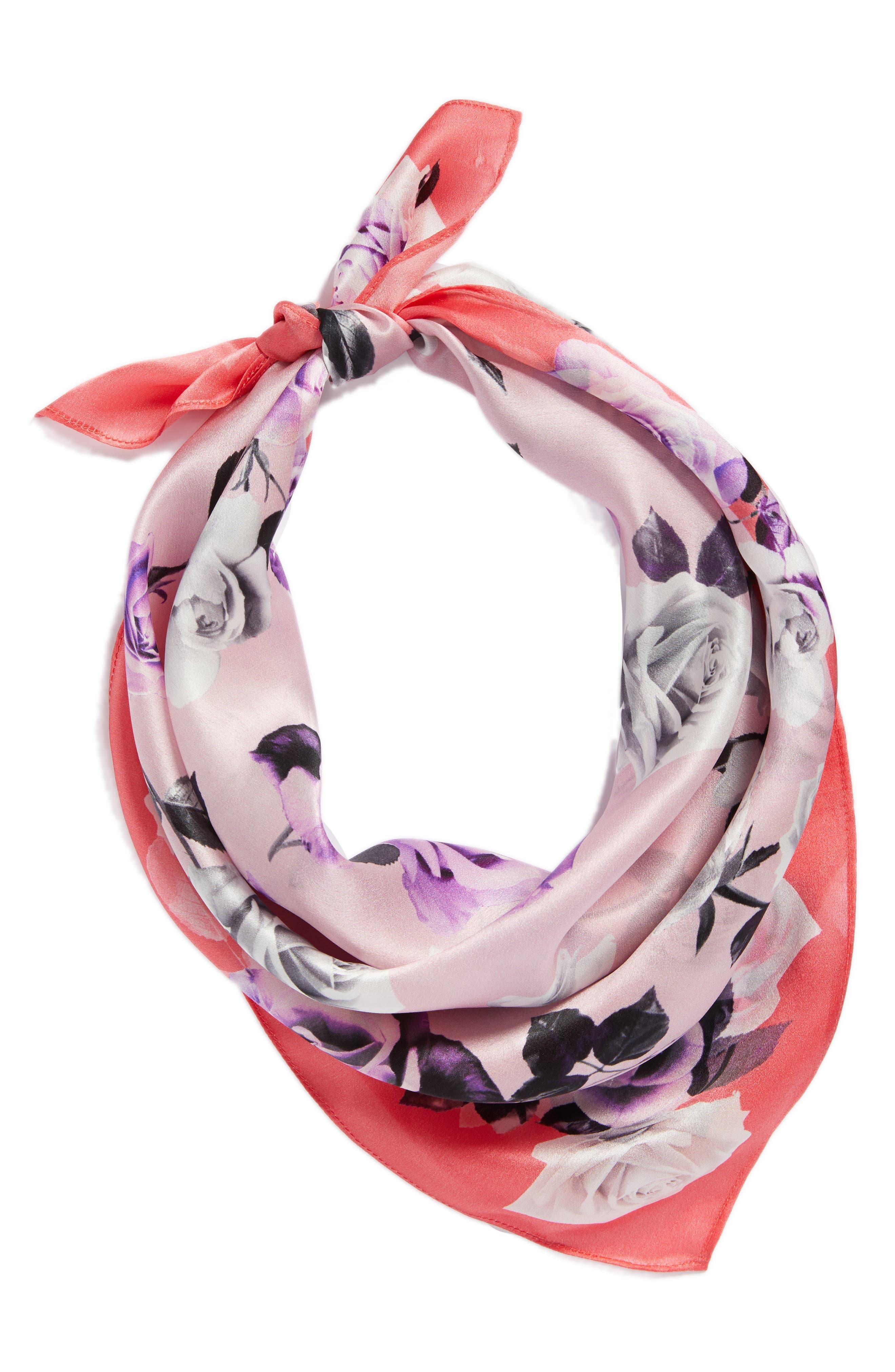Print Silk Scarf,                             Alternate thumbnail 2, color,                             Pink Glam Rock Rose Print