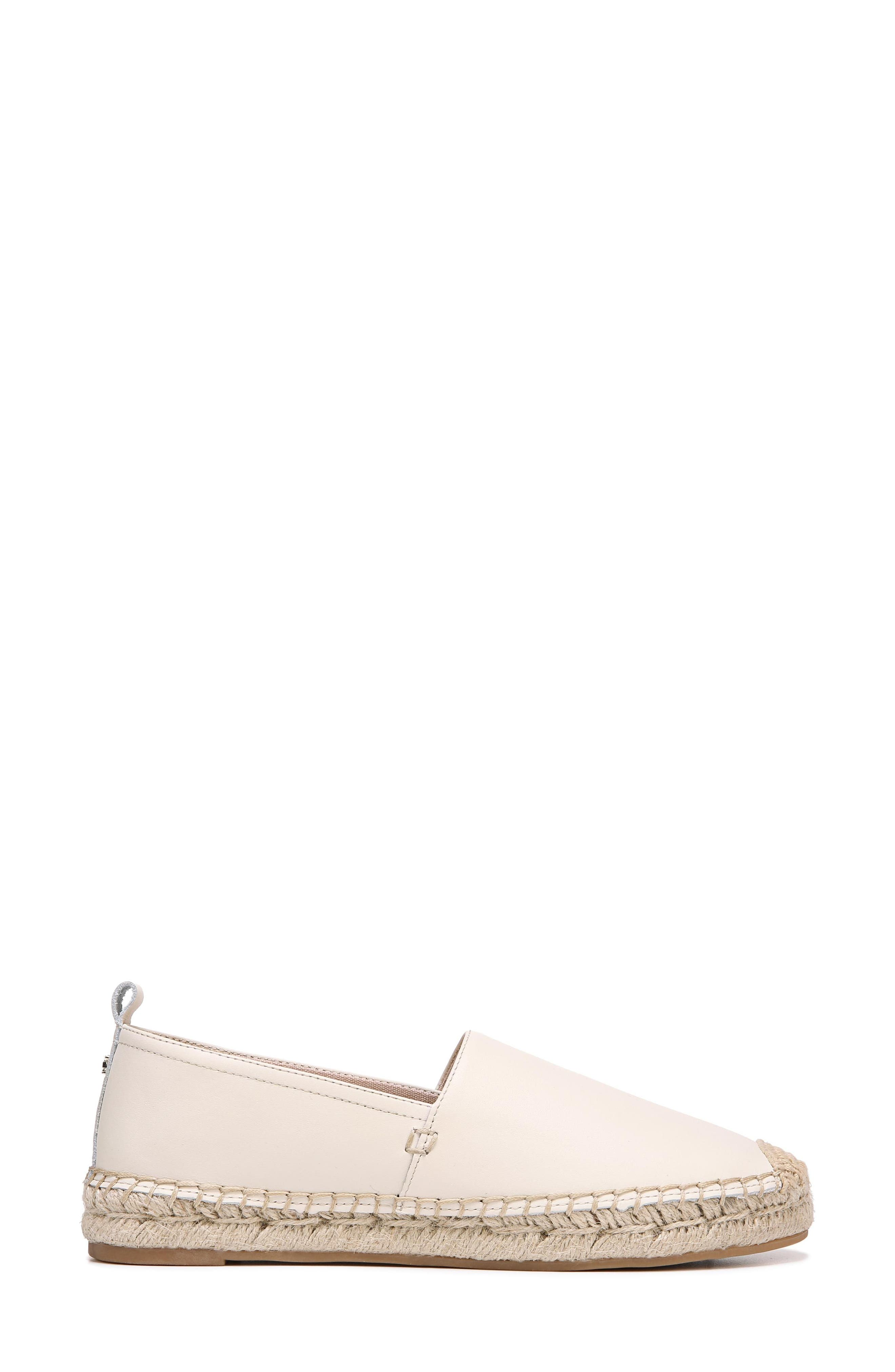 Khloe Espadrille Flat,                             Alternate thumbnail 3, color,                             Modern Ivory Leather