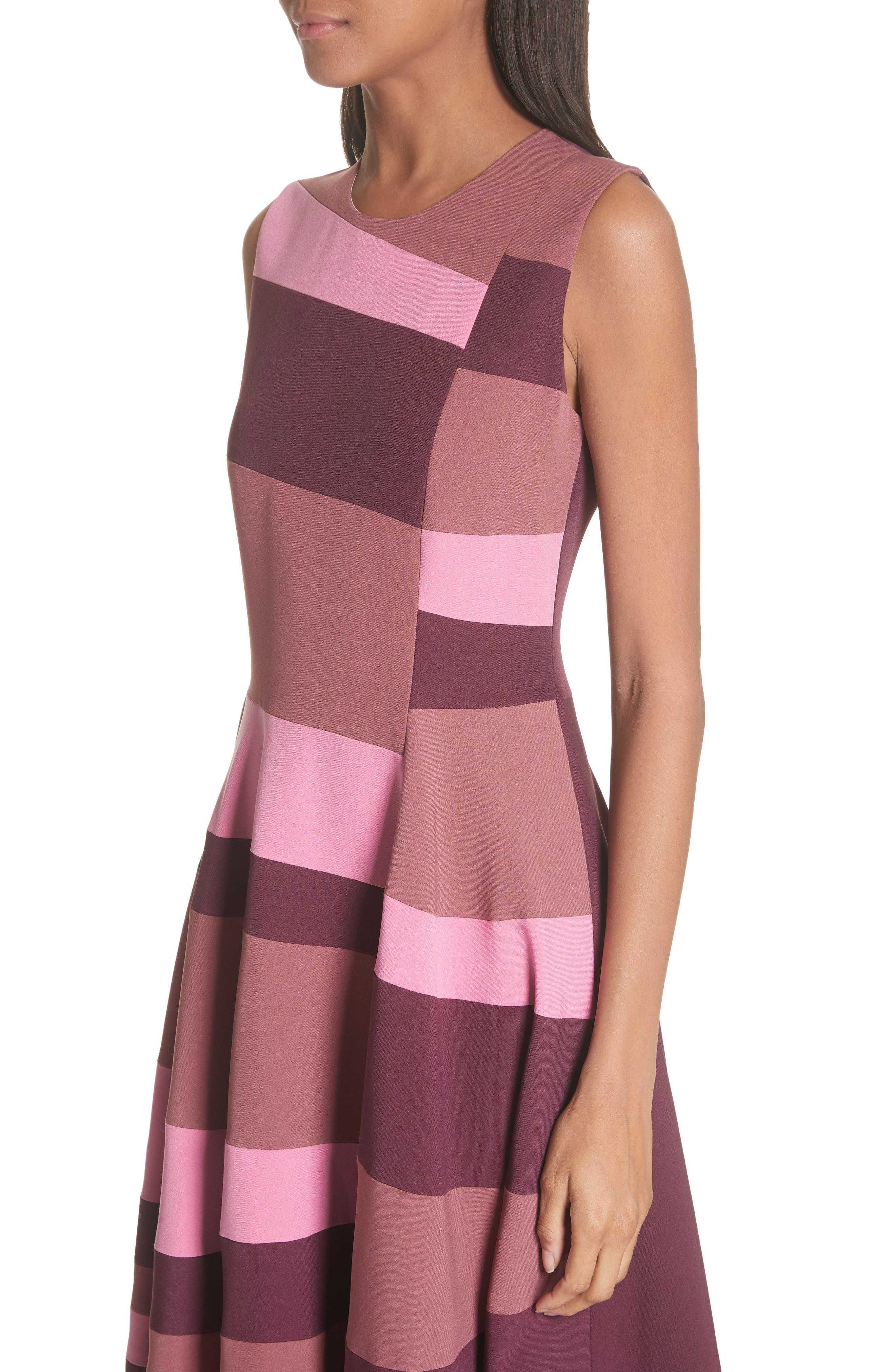 Tatum Stripe Paneled Fit & Flare Dress,                             Alternate thumbnail 4, color,                             Plum/ Blossom/ Mink