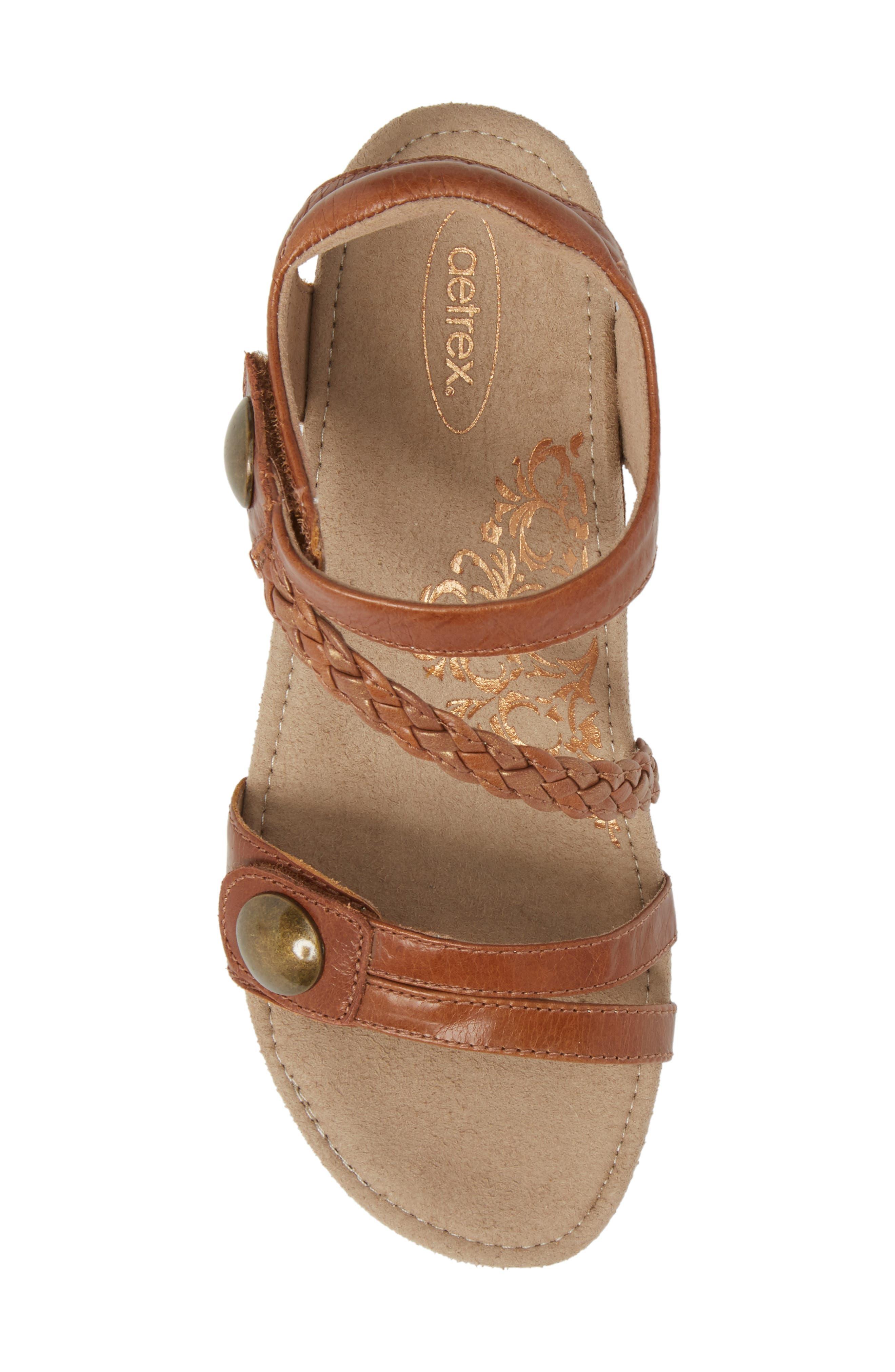 'Naya' Wedge Sandal,                             Alternate thumbnail 5, color,                             Cognac Leather