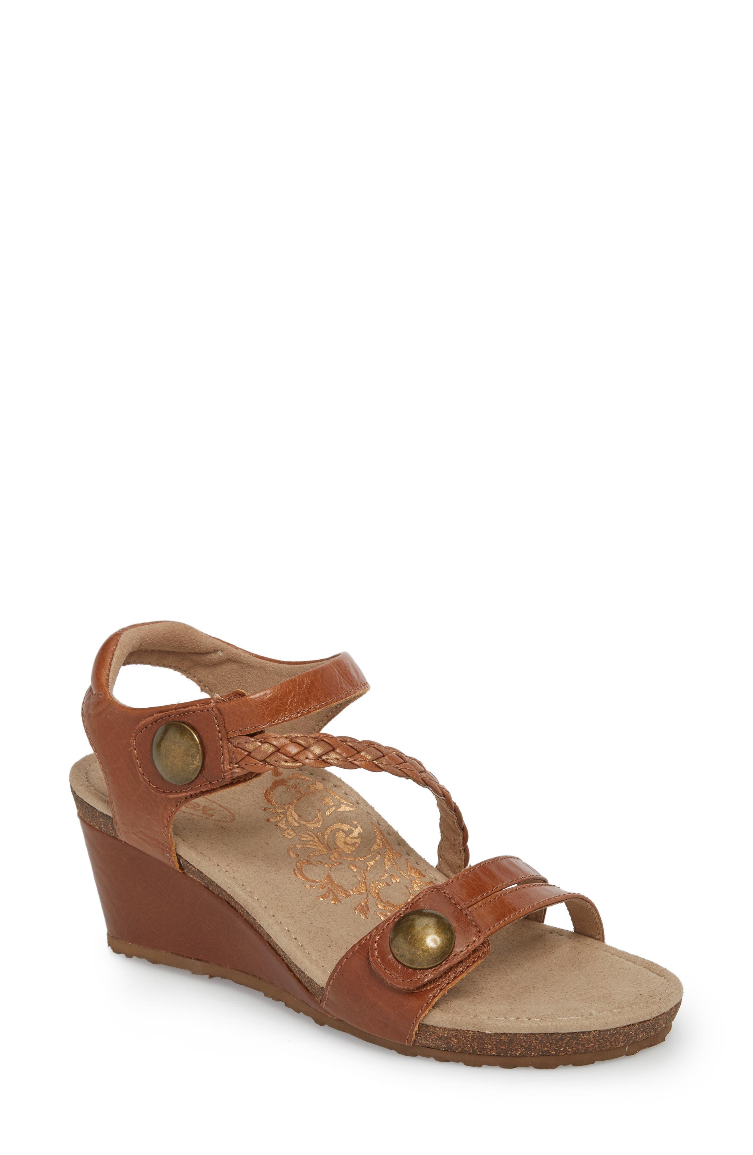 'Naya' Wedge Sandal,                             Main thumbnail 1, color,                             Cognac Leather