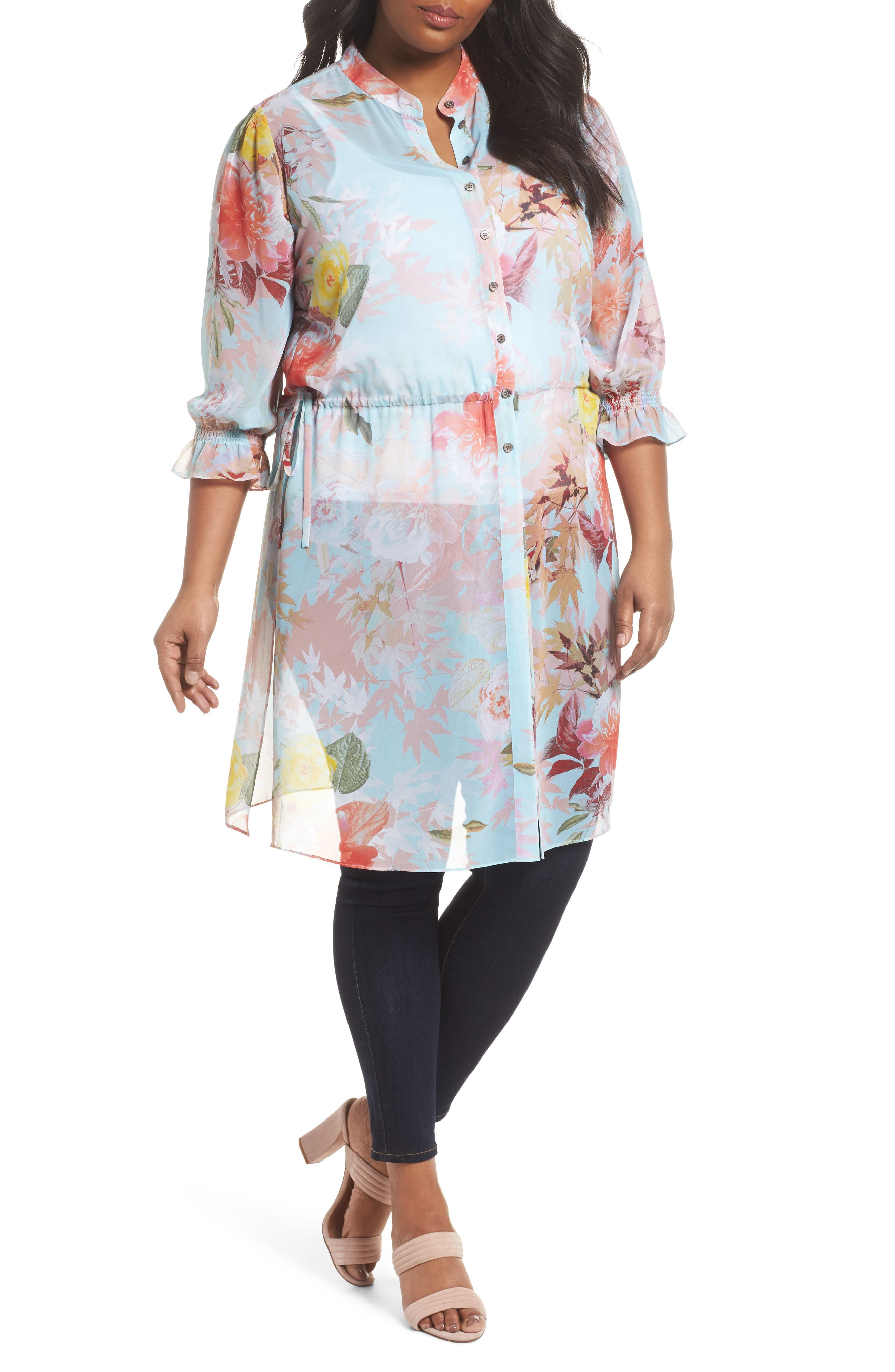 Faded Blooms Tunic Dress,                         Main,                         color, Aqua Glow