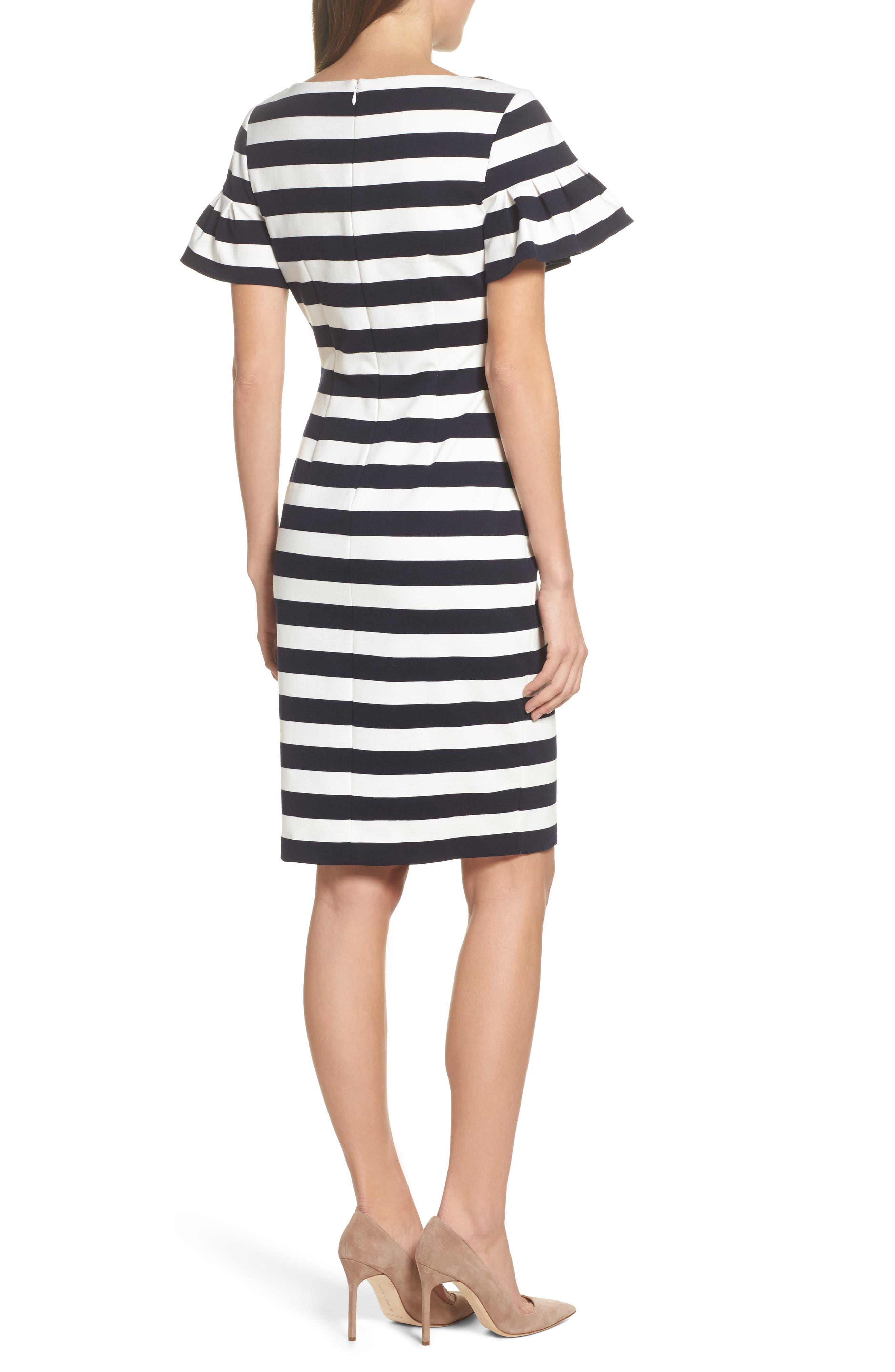 Stripe Ruffle Sheath Dress,                             Alternate thumbnail 2, color,                             Navy/ Ivory