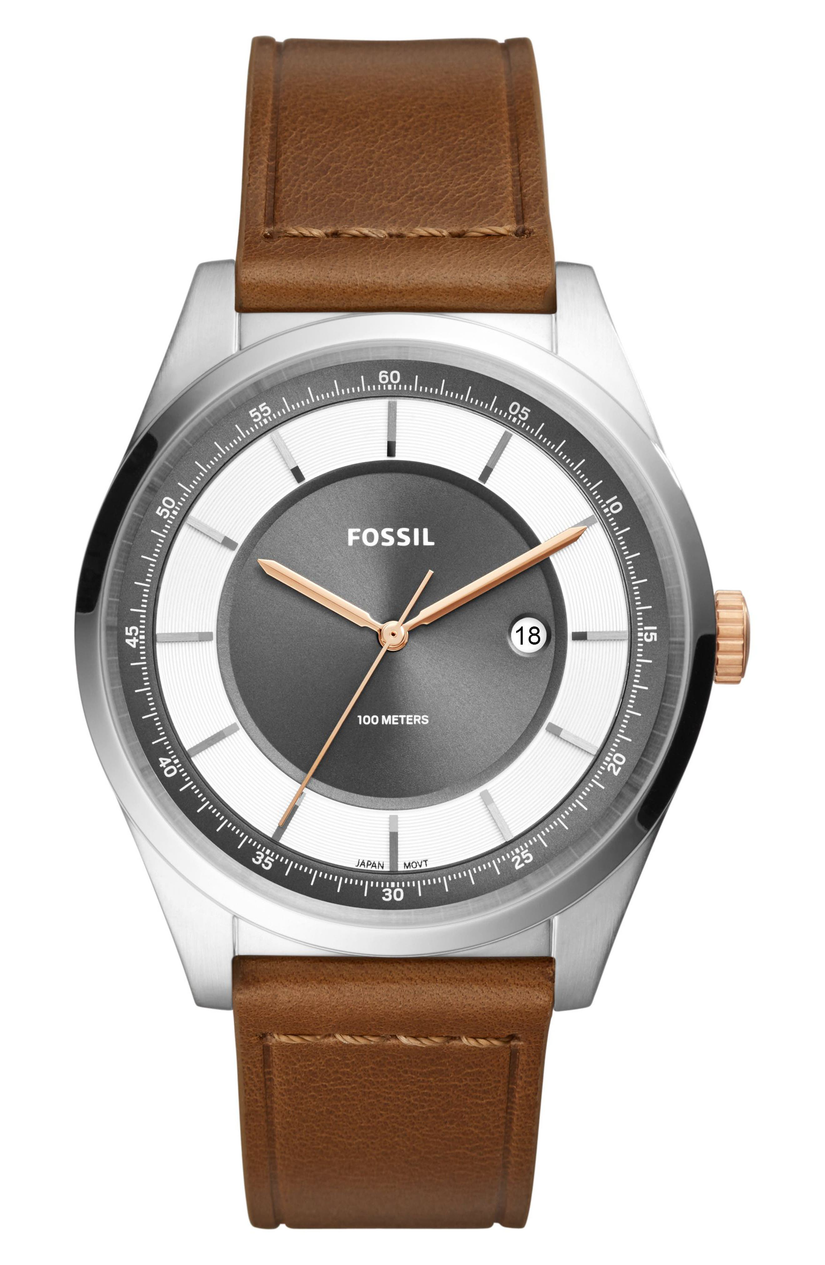 Mathis Leather Strap Watch, 44mm,                             Main thumbnail 1, color,                             Brown/ Grey/ Silver