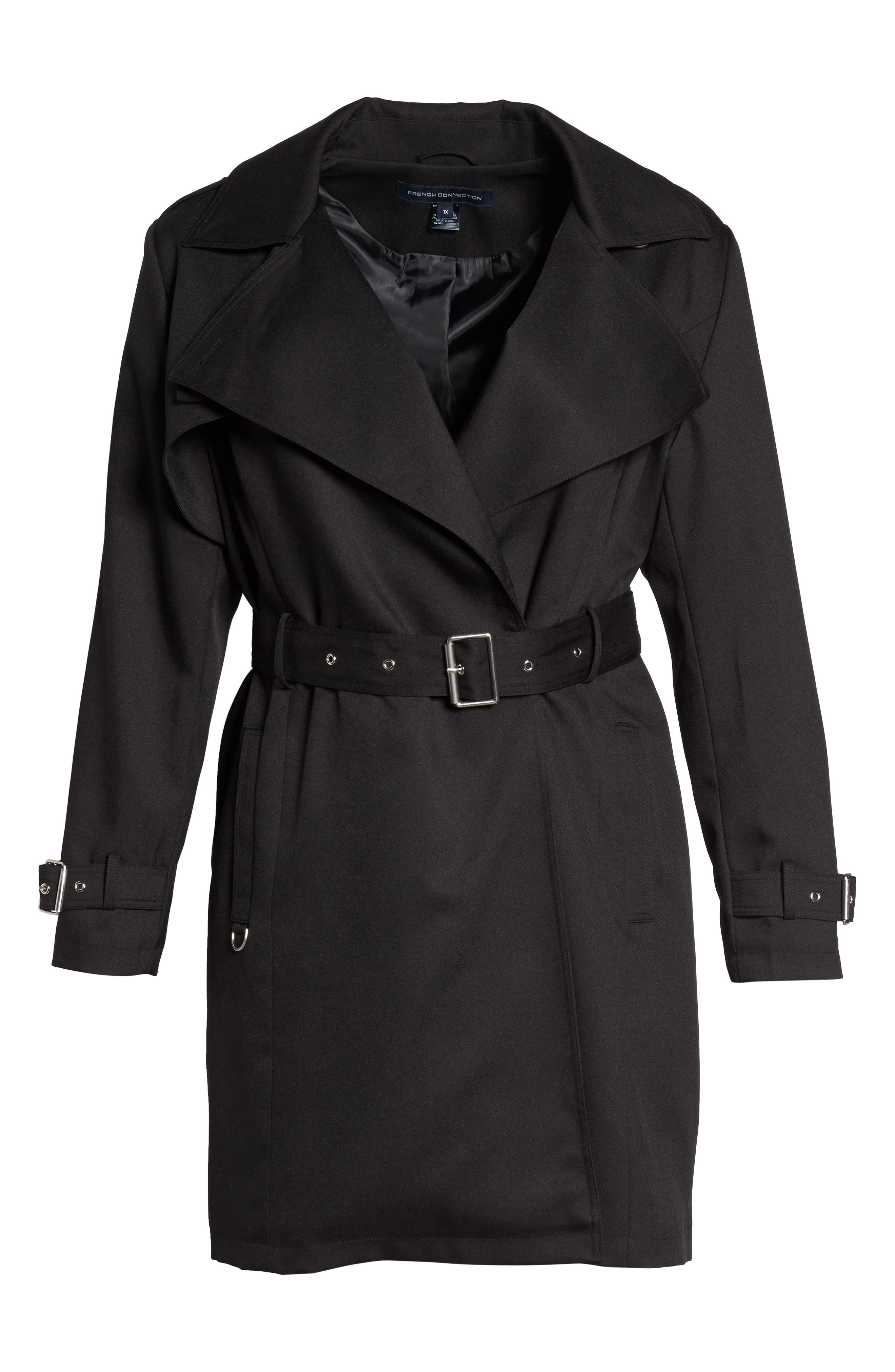 Flowy Belted Trench Coat,                             Alternate thumbnail 6, color,                             Black