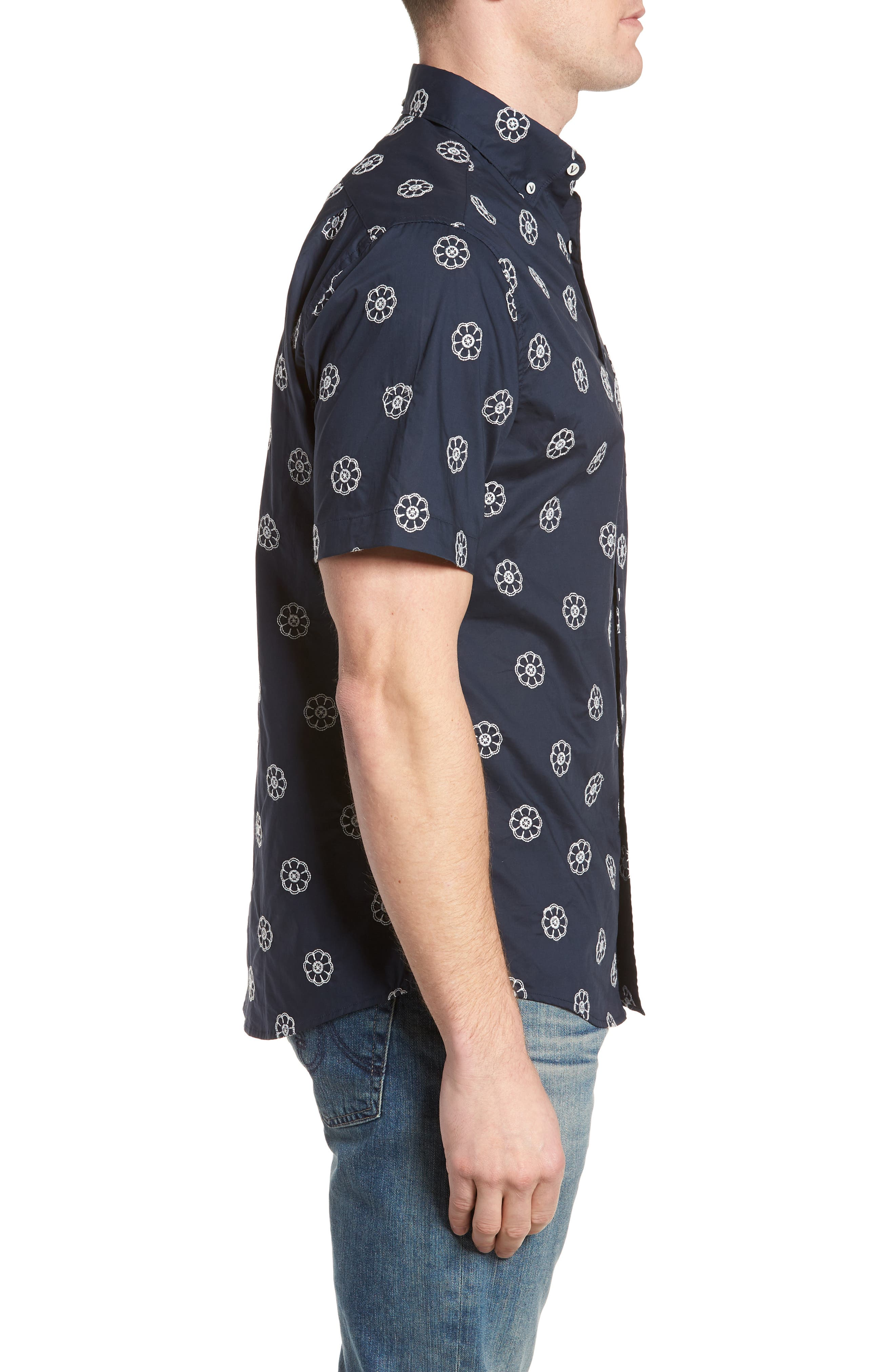 Embroidered Floral Poplin Shirt,                             Alternate thumbnail 4, color,                             Squid Ink W/ Canvas