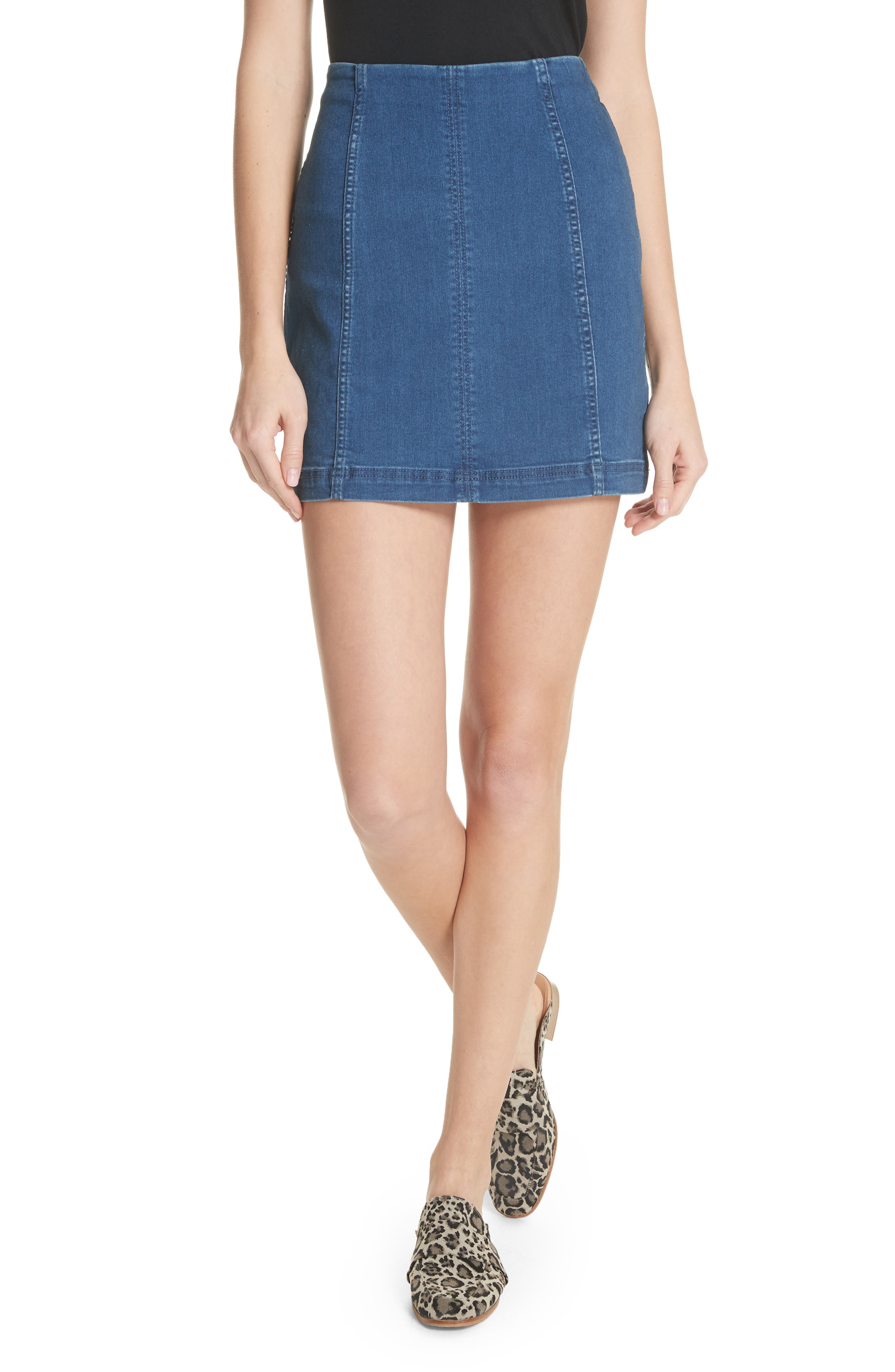 We the Free by Free People Modern Femme Denim Miniskirt,                         Main,                         color, Dark Denim