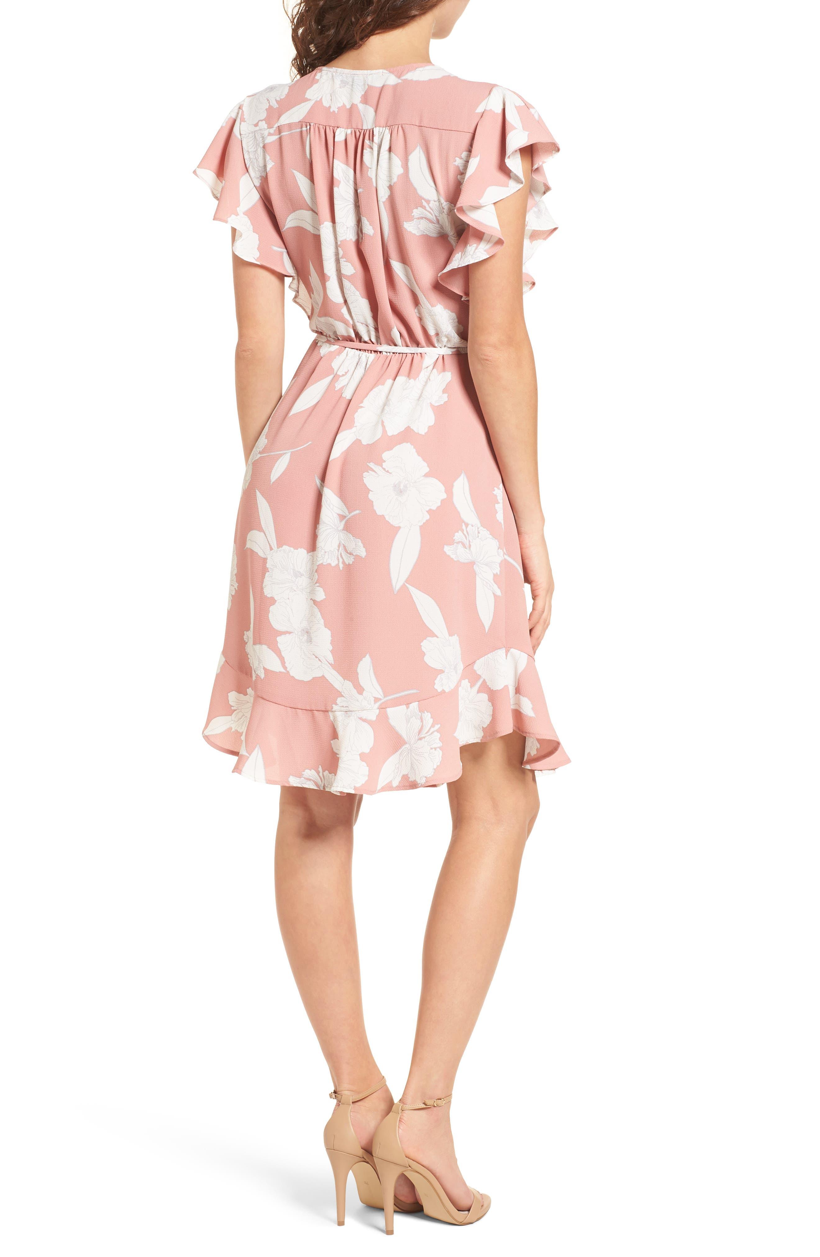 Ruffle Wrap Dress,                             Alternate thumbnail 2, color,                             Blush/ Ivory
