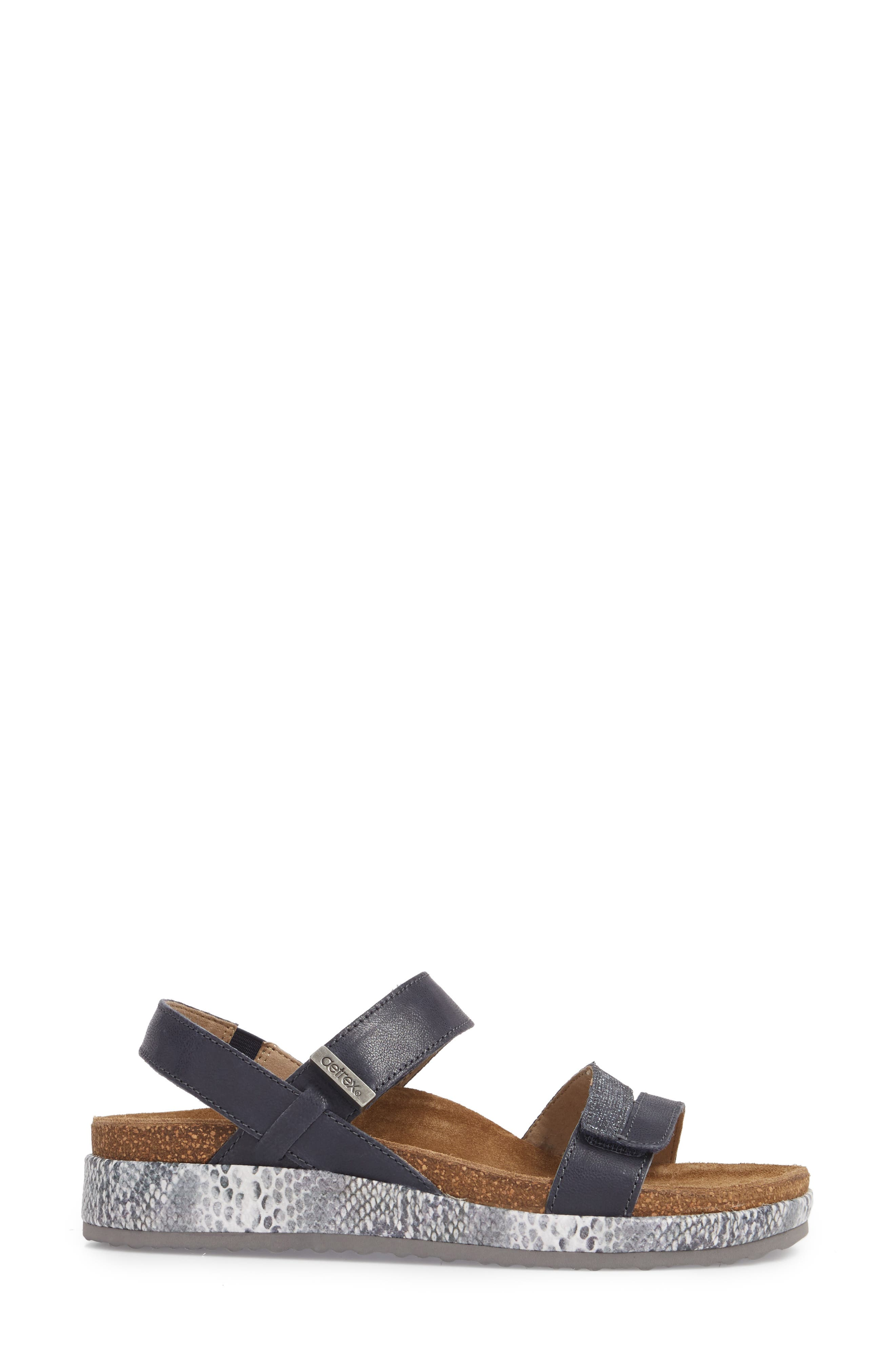 Bethany Sandal,                             Alternate thumbnail 3, color,                             Navy Multi Leather