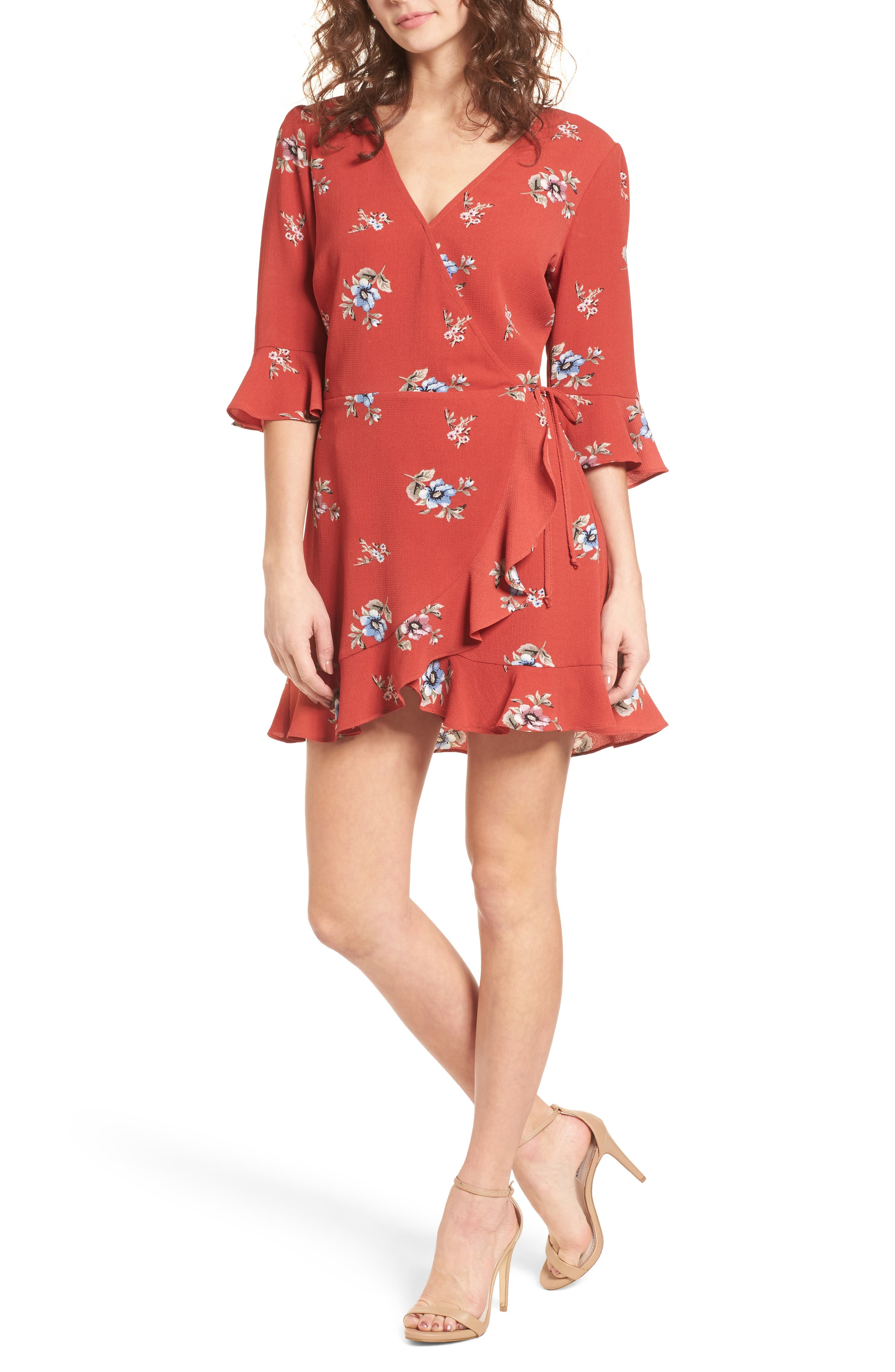 Ruffle Wrap Front Romper,                         Main,                         color, Rust Floral