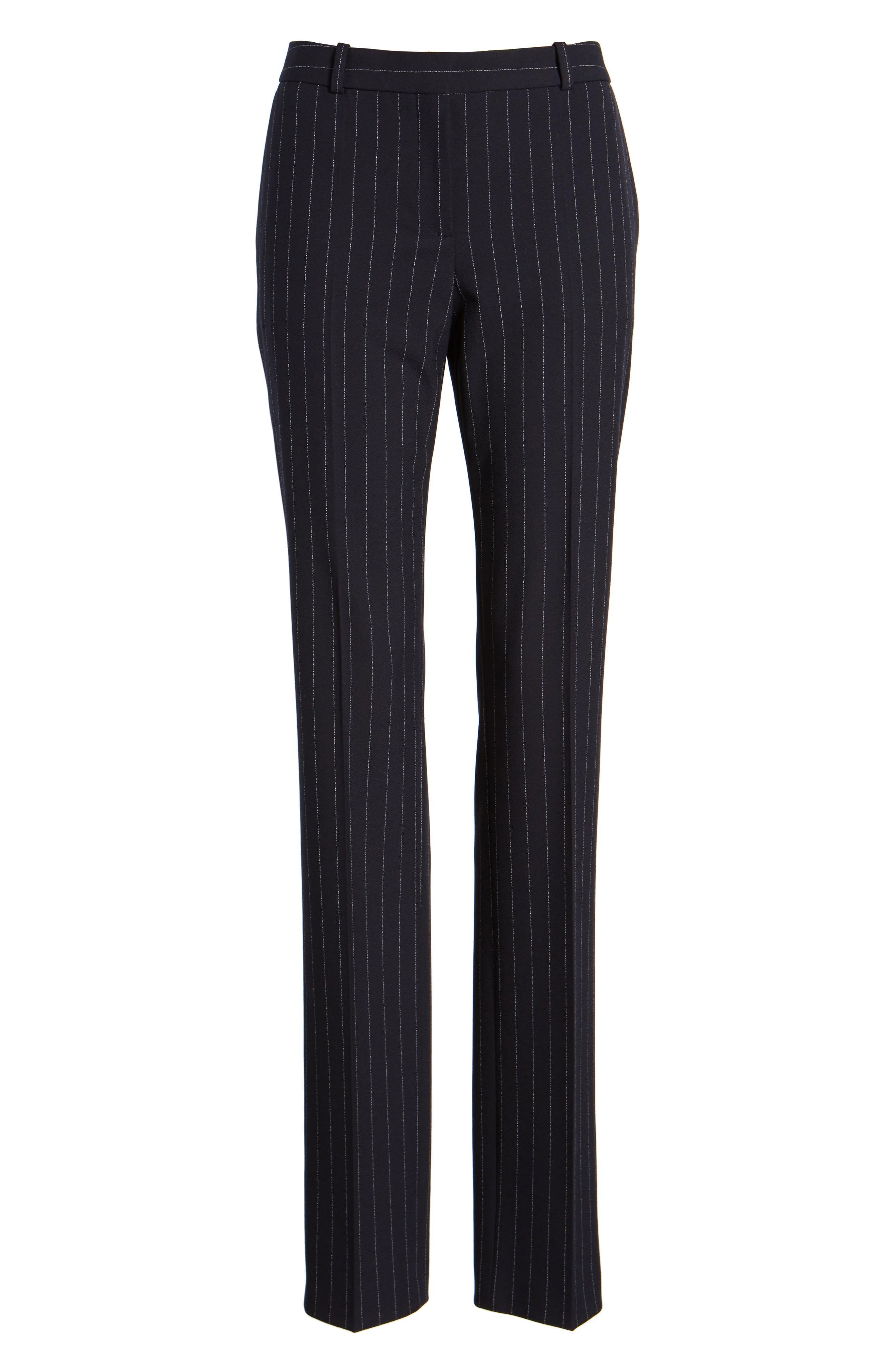 Titana Pinstripe Suit Trousers,                             Alternate thumbnail 8, color,                             Navy Fantasy