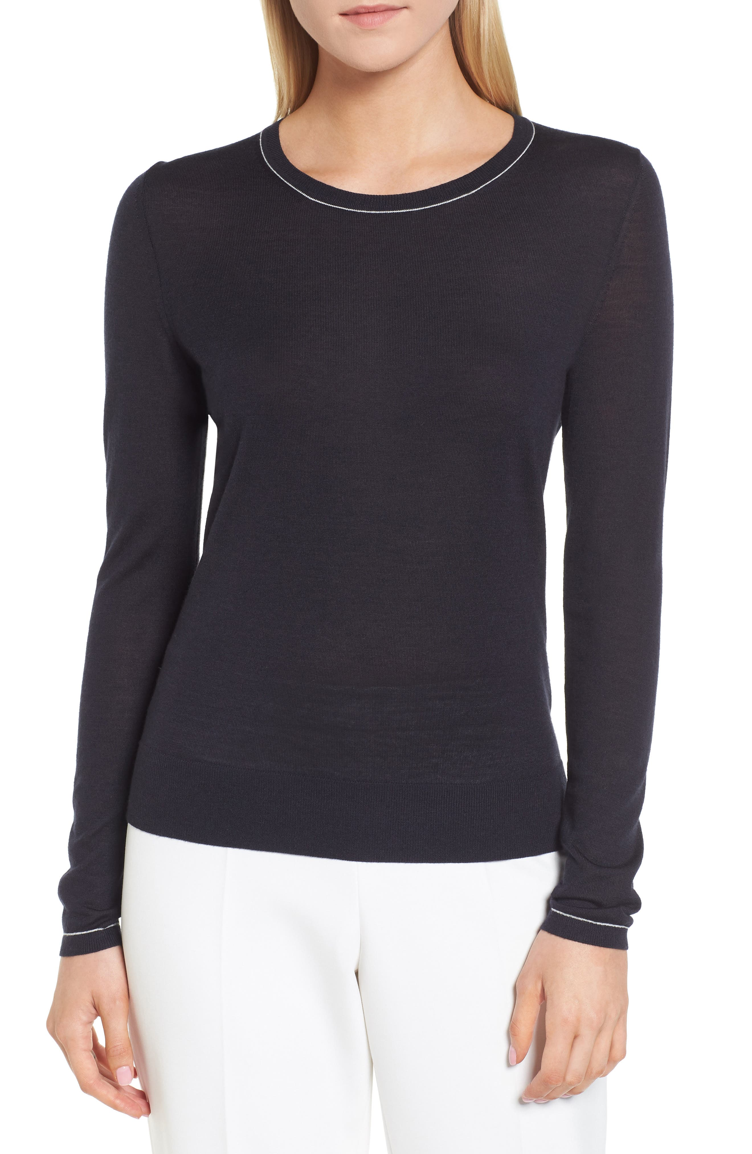 Femma Wool Sweater,                         Main,                         color, Navy