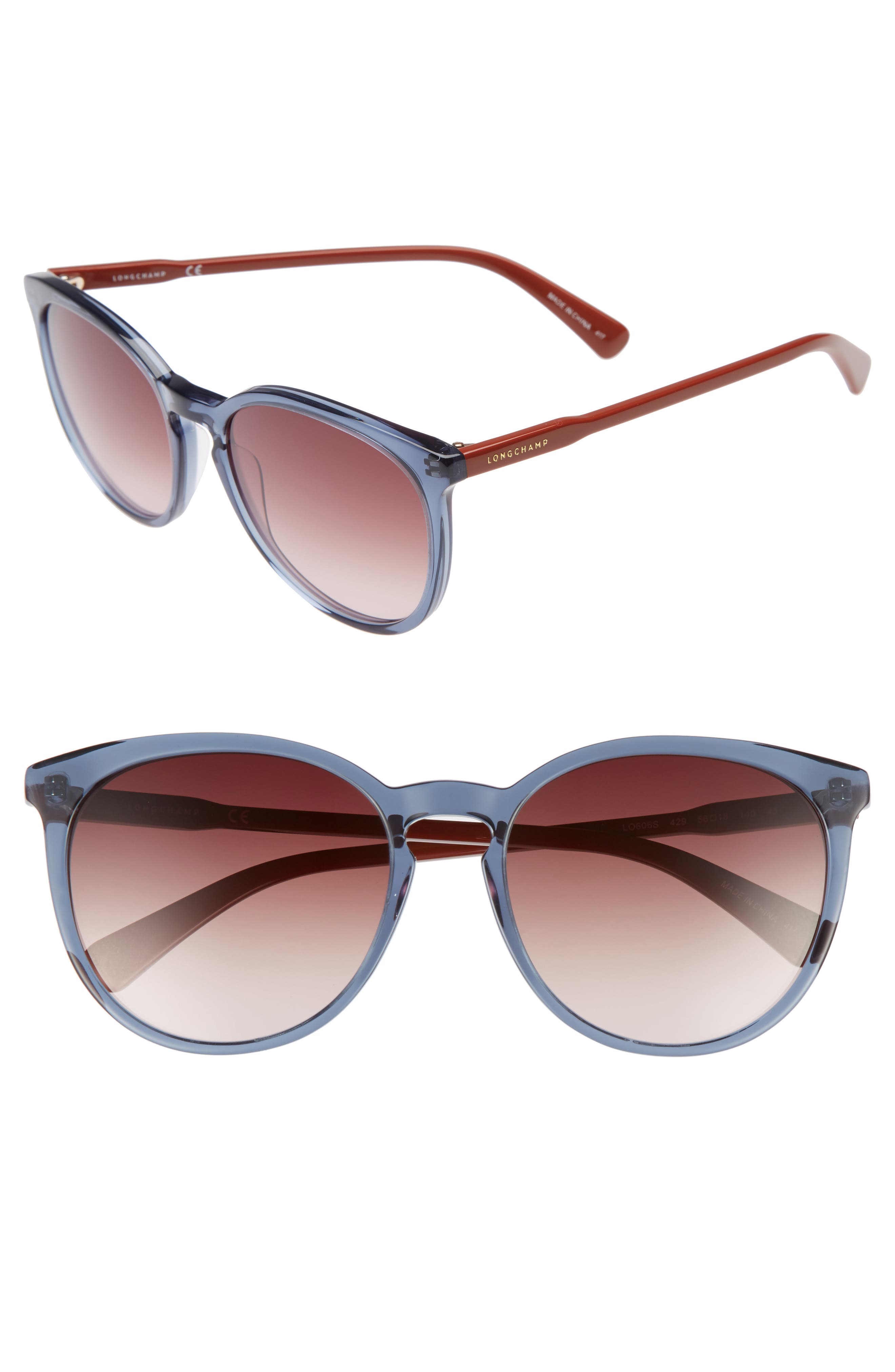 56mm Round Sunglasses,                             Main thumbnail 1, color,                             Petrol Berry