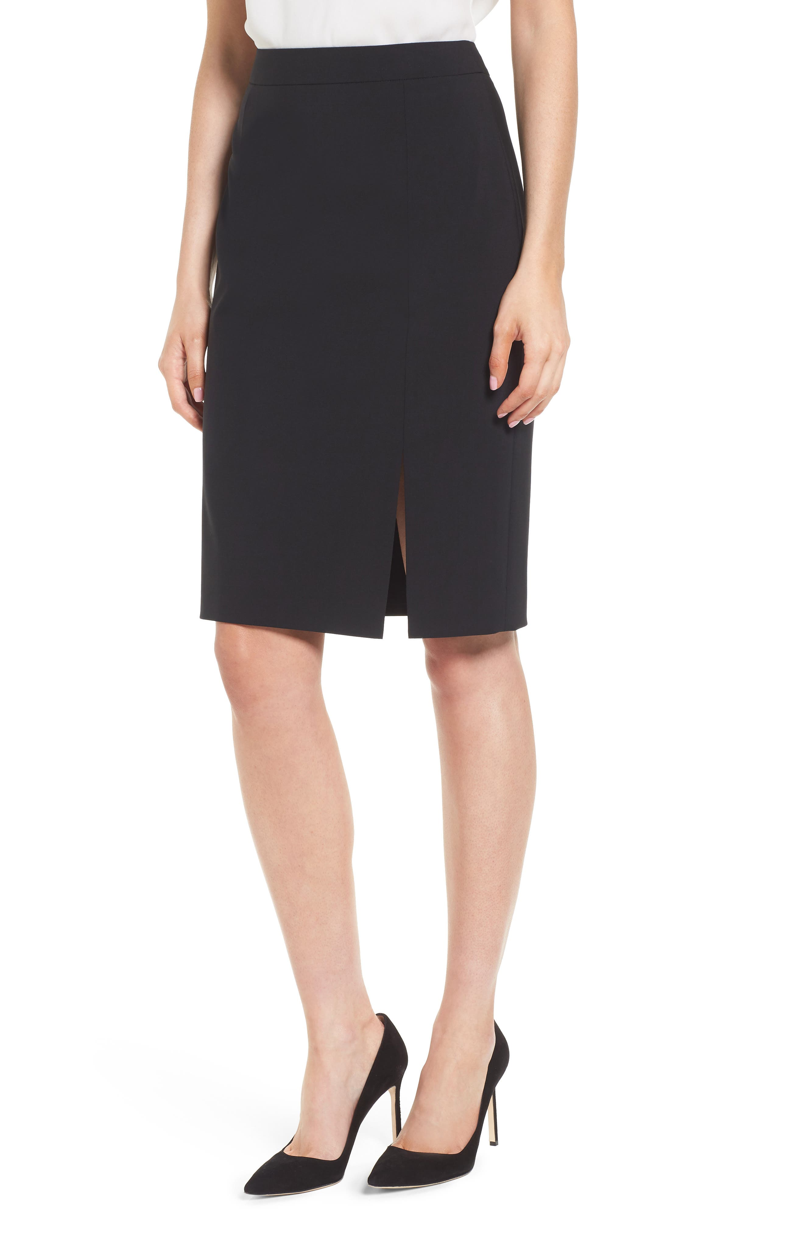Volania Stretch Wool Pencil Skirt,                             Main thumbnail 1, color,                             Black