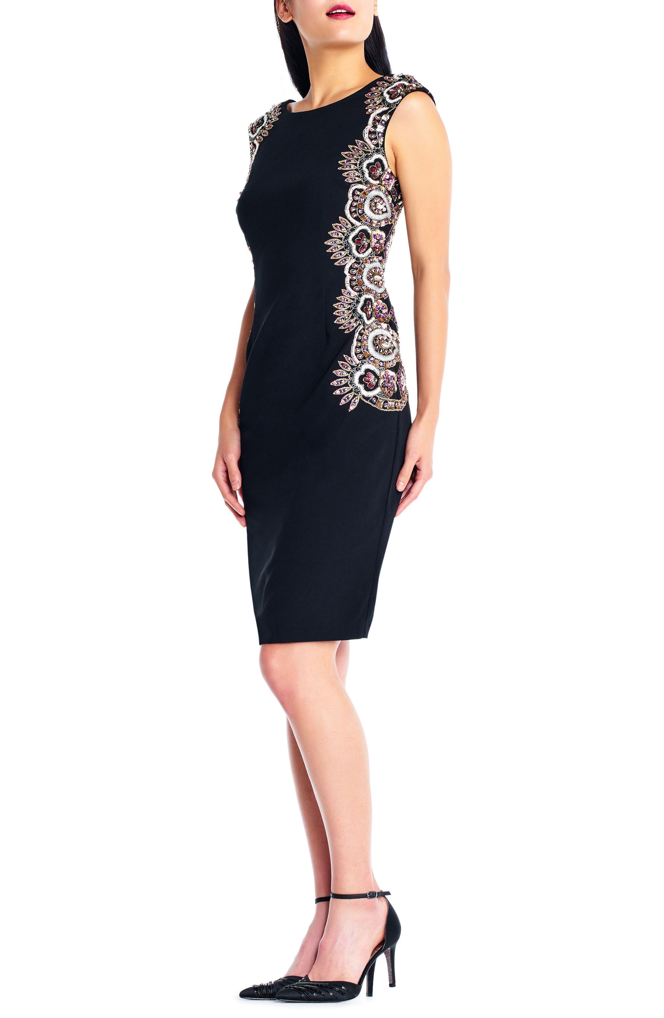 Beaded Crepe Sheath Dress,                             Alternate thumbnail 3, color,                             Black