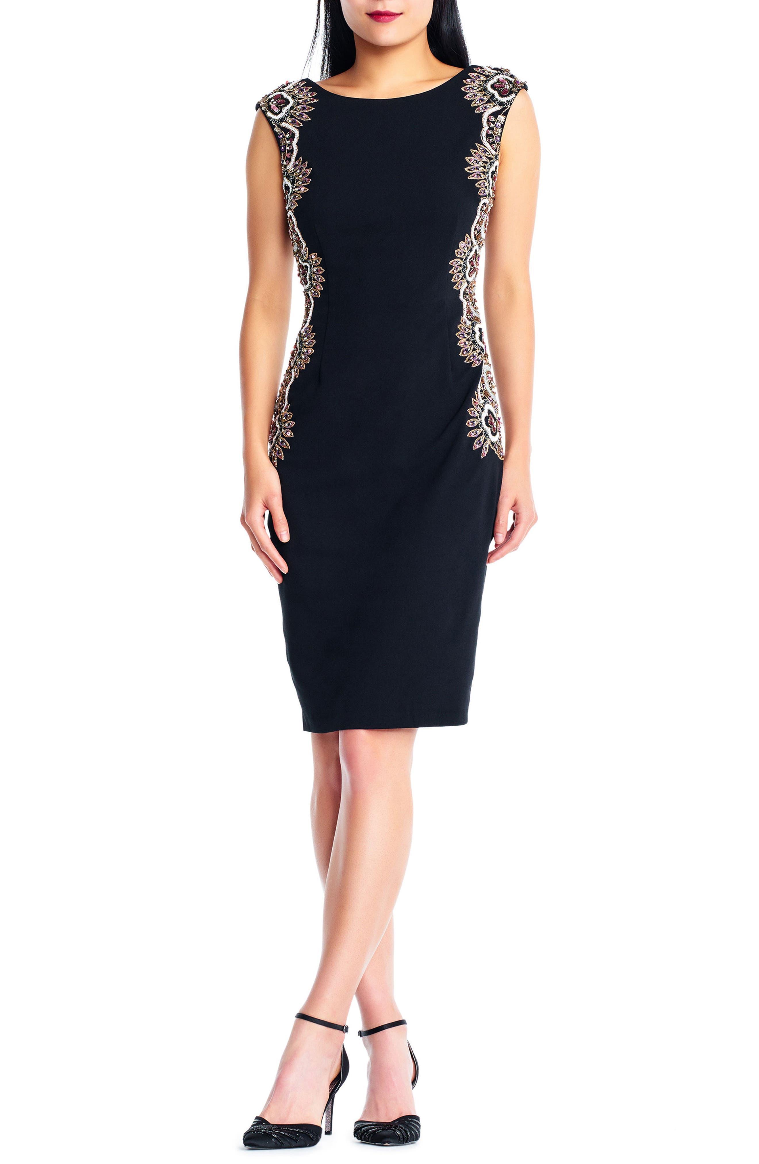 Beaded Crepe Sheath Dress,                             Main thumbnail 1, color,                             Black
