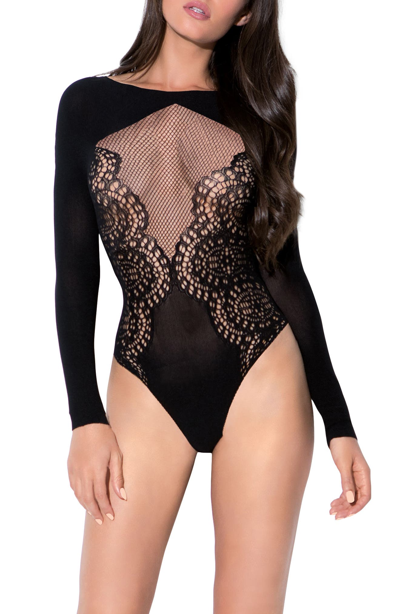 Flamenco Lace Thong Bodysuit,                             Main thumbnail 1, color,                             Black