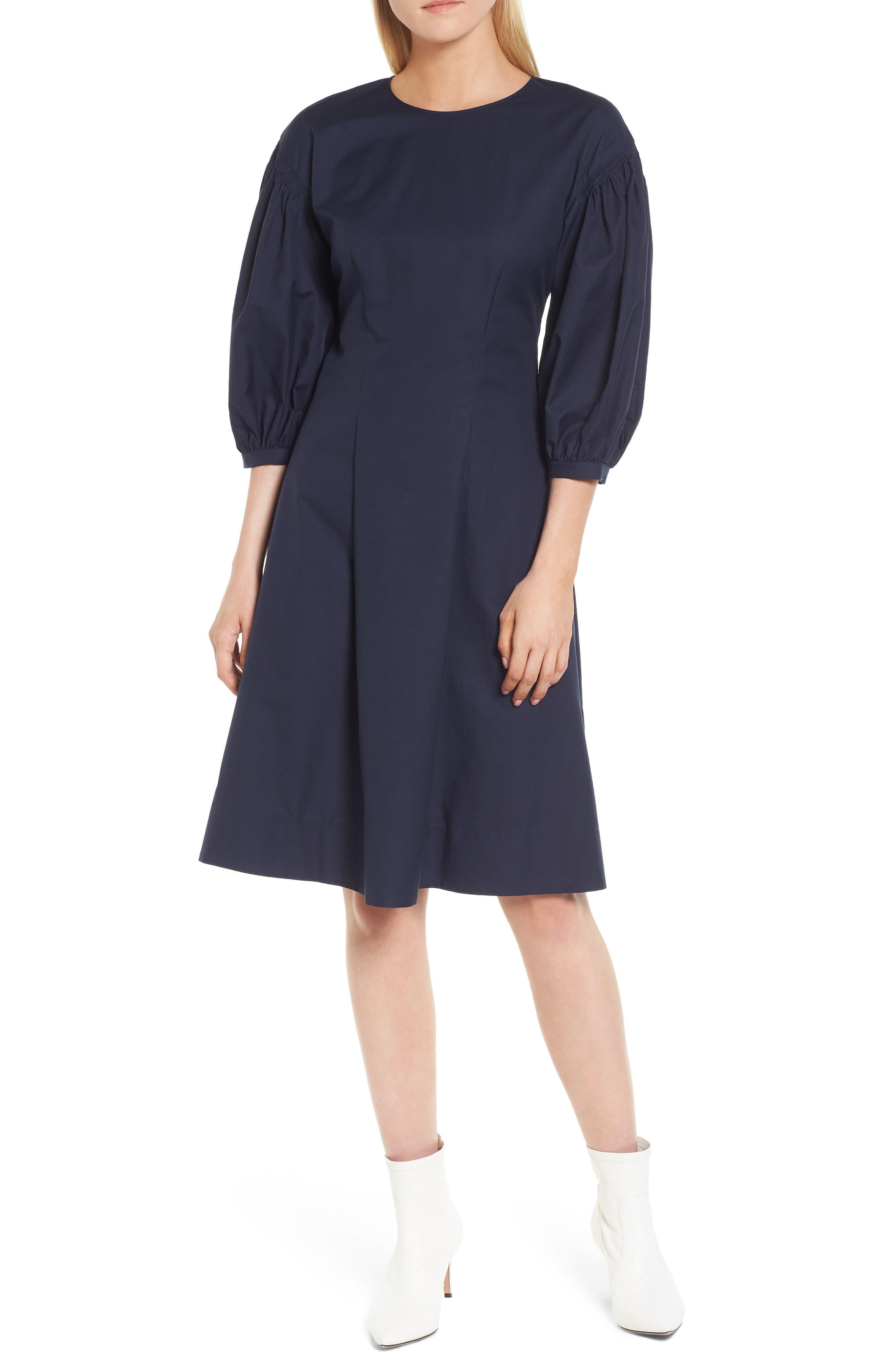 Blouson Sleeve A-Line Twill Dress,                             Main thumbnail 1, color,                             Navy Night