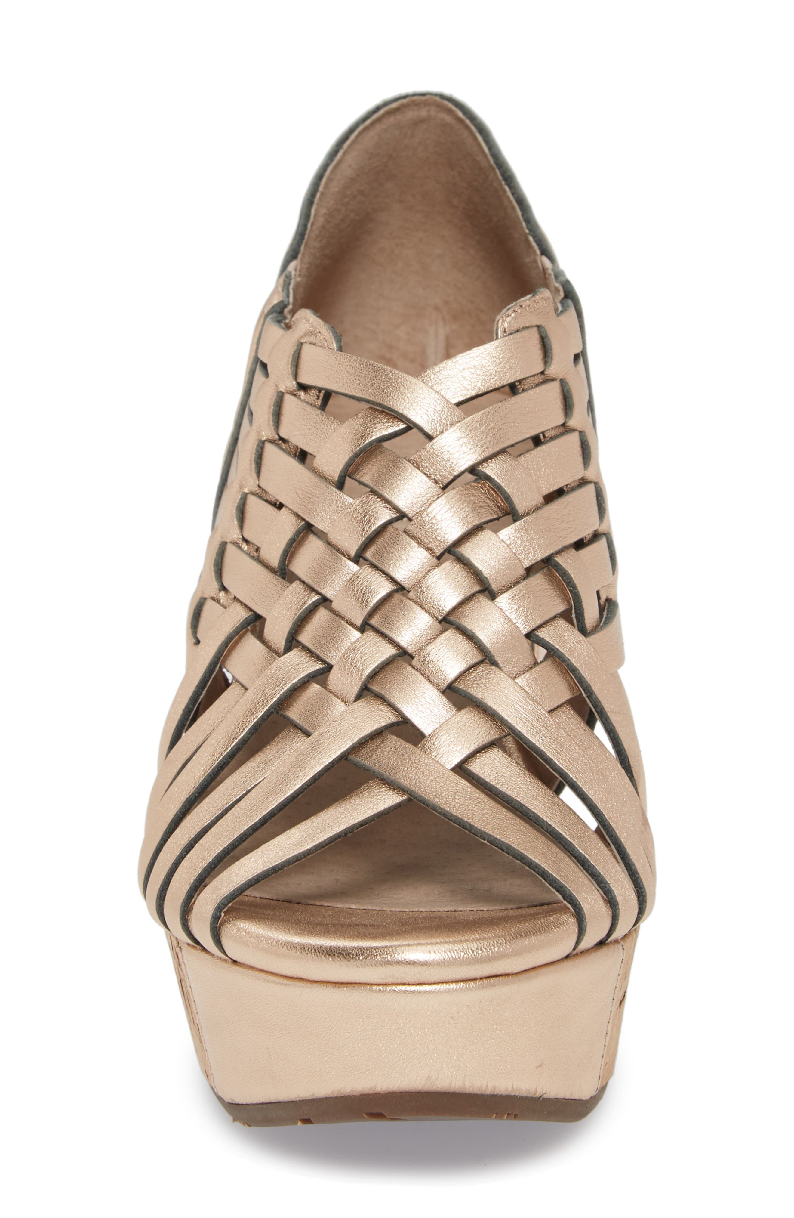 Web Woven Wedge,                             Alternate thumbnail 4, color,                             Rose Gold Leather