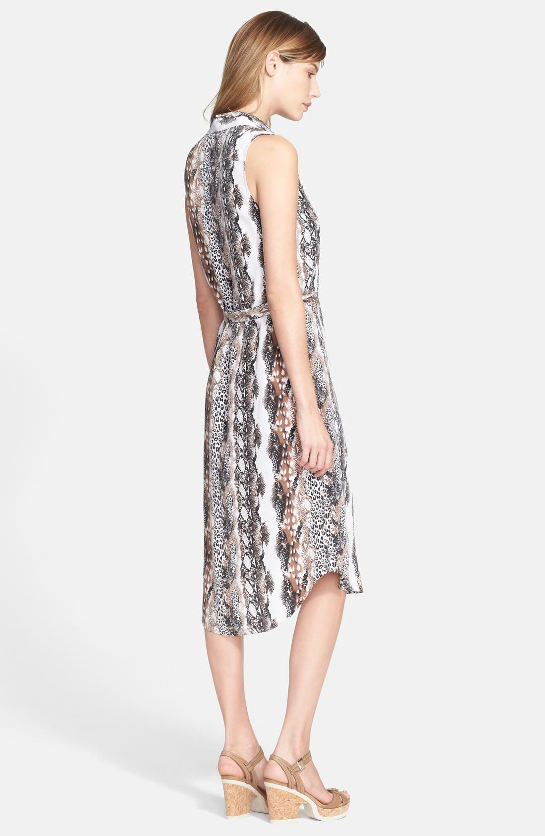 'Teagan' Print Silk Dress,                             Alternate thumbnail 2, color,                             Bright White Multi