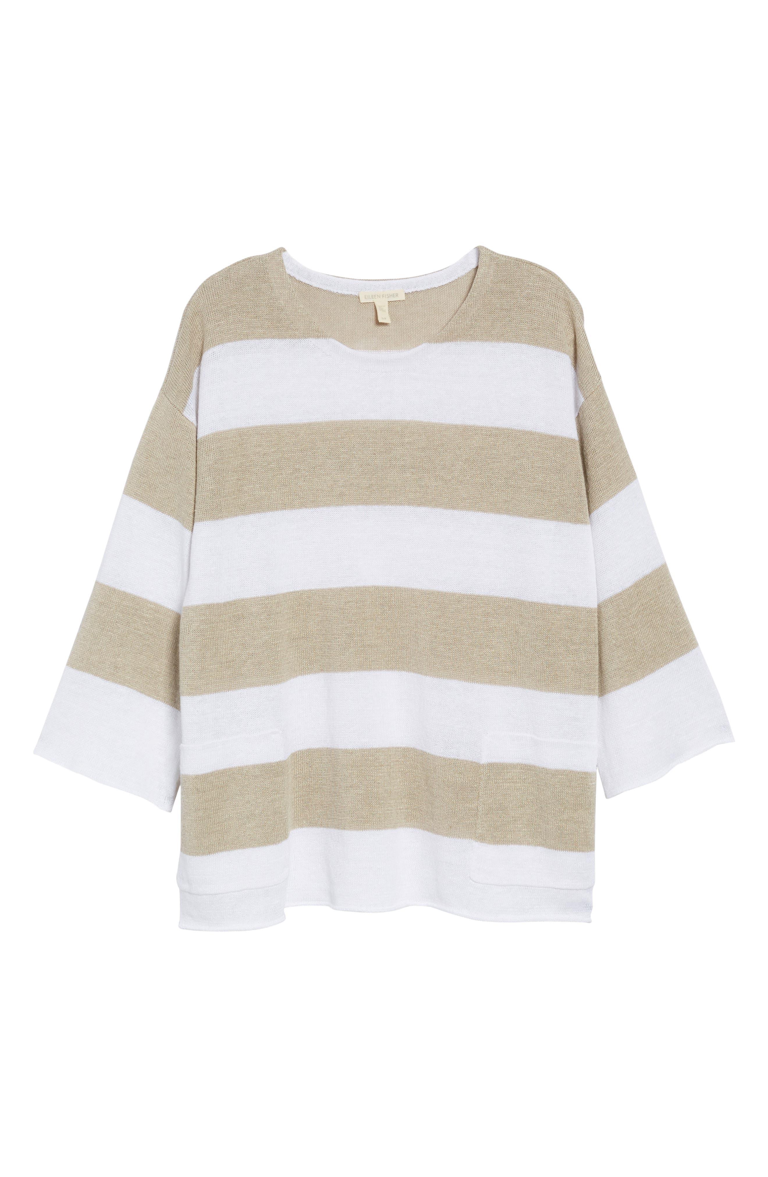 Stripe Organic Linen Knit A-Line Top,                             Alternate thumbnail 6, color,                             White/ Natural