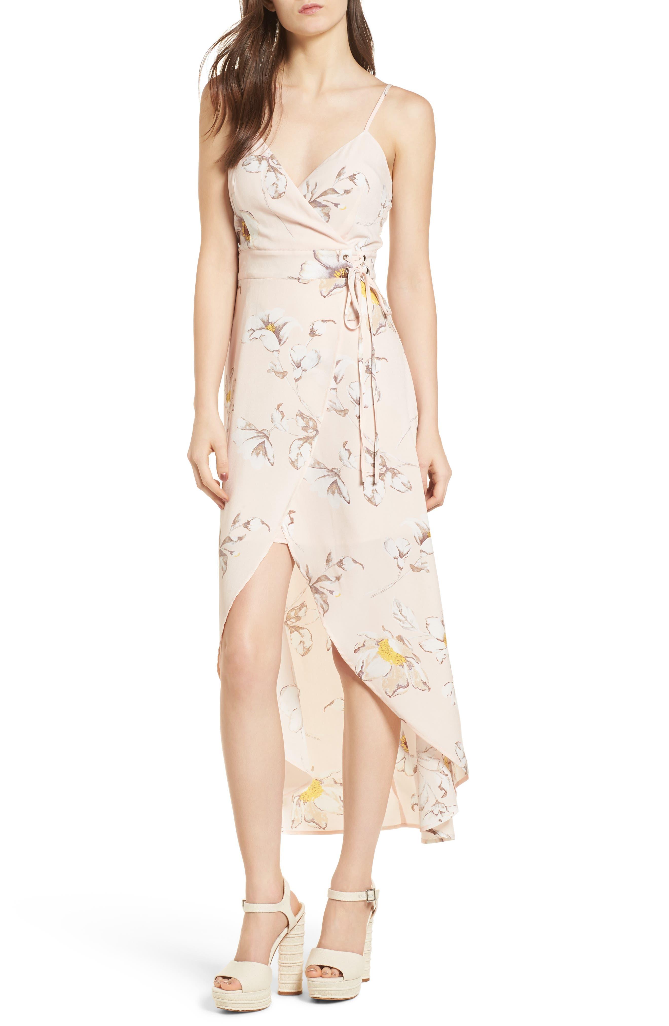 Faux Wrap Midi Dress,                         Main,                         color, Blush Floral