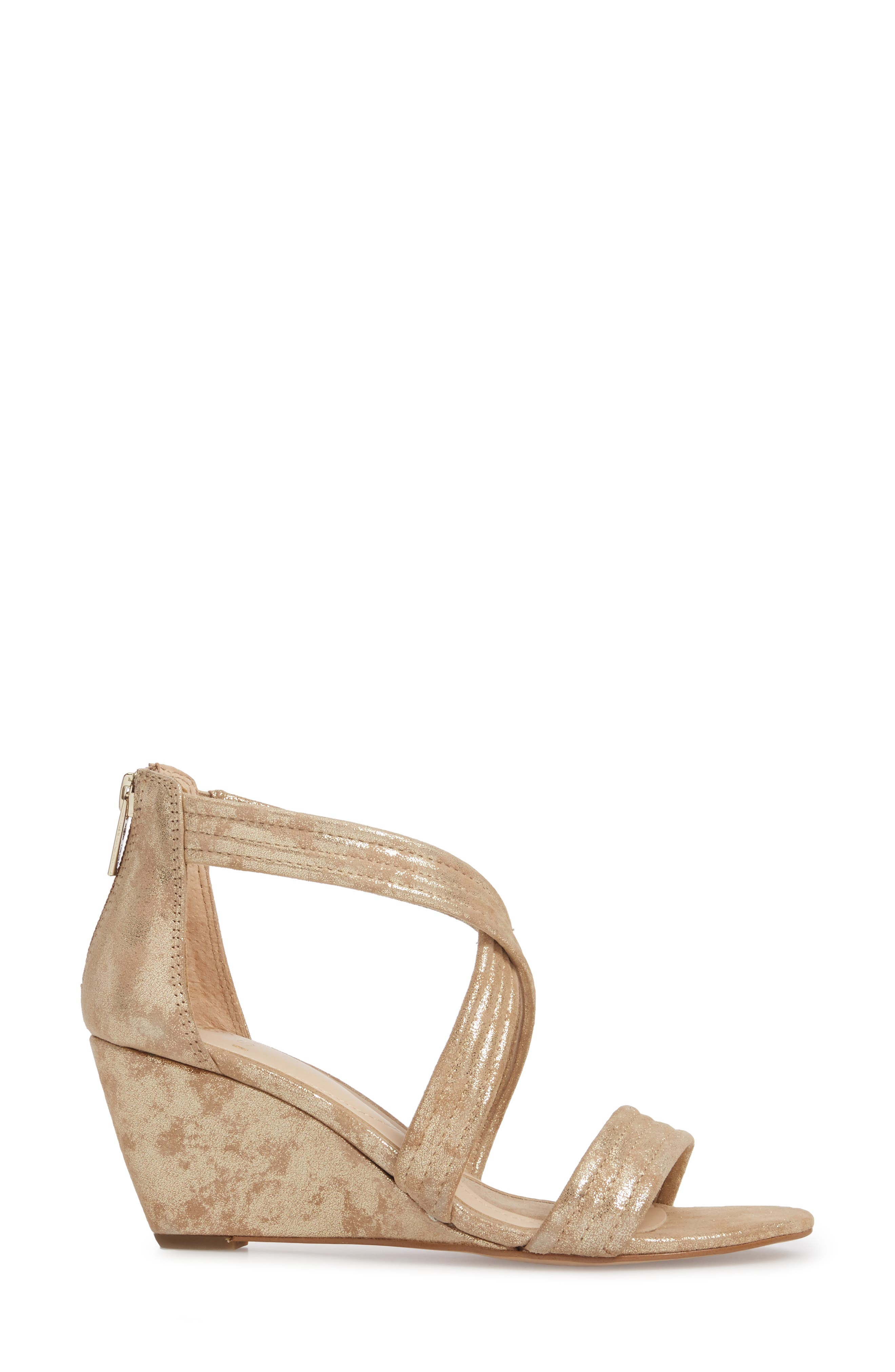 Fia Wedge Sandal,                             Alternate thumbnail 3, color,                             Platino Distressed Suede