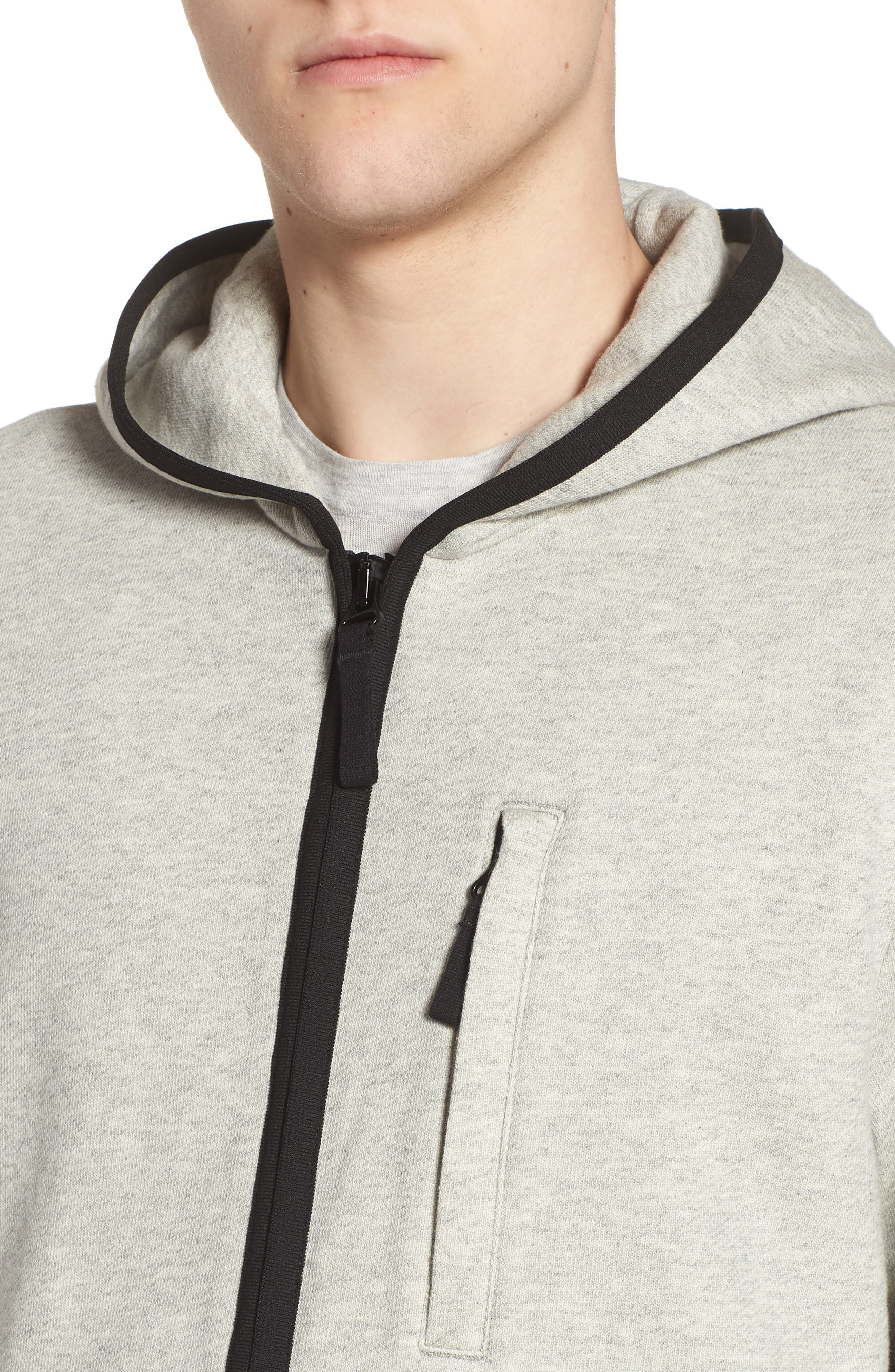 French Terry Zip Hoodie,                             Alternate thumbnail 4, color,                             Heather Grey/ Black