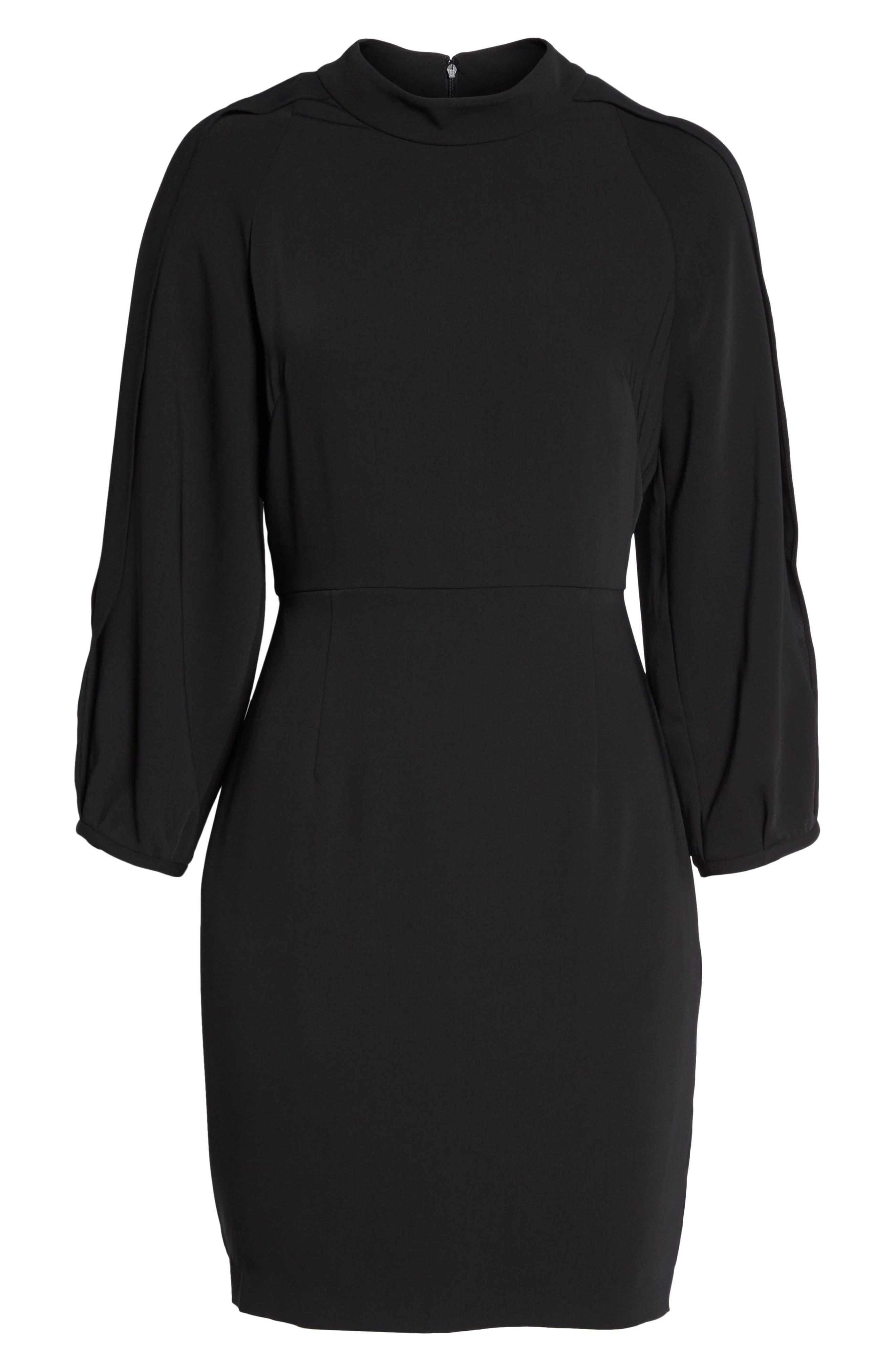 Split Sleeve Minidress,                             Alternate thumbnail 6, color,                             Black