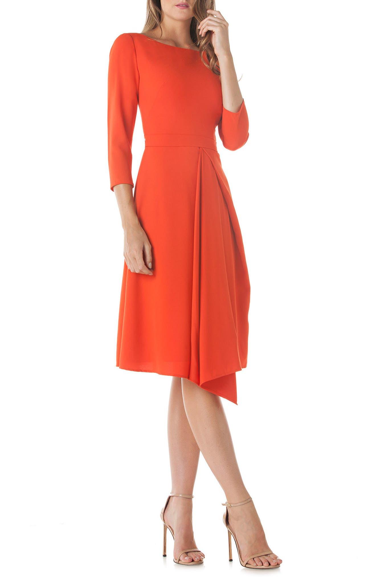 Asymmetrical Pleat V-Back Dress,                             Main thumbnail 1, color,                             Coral