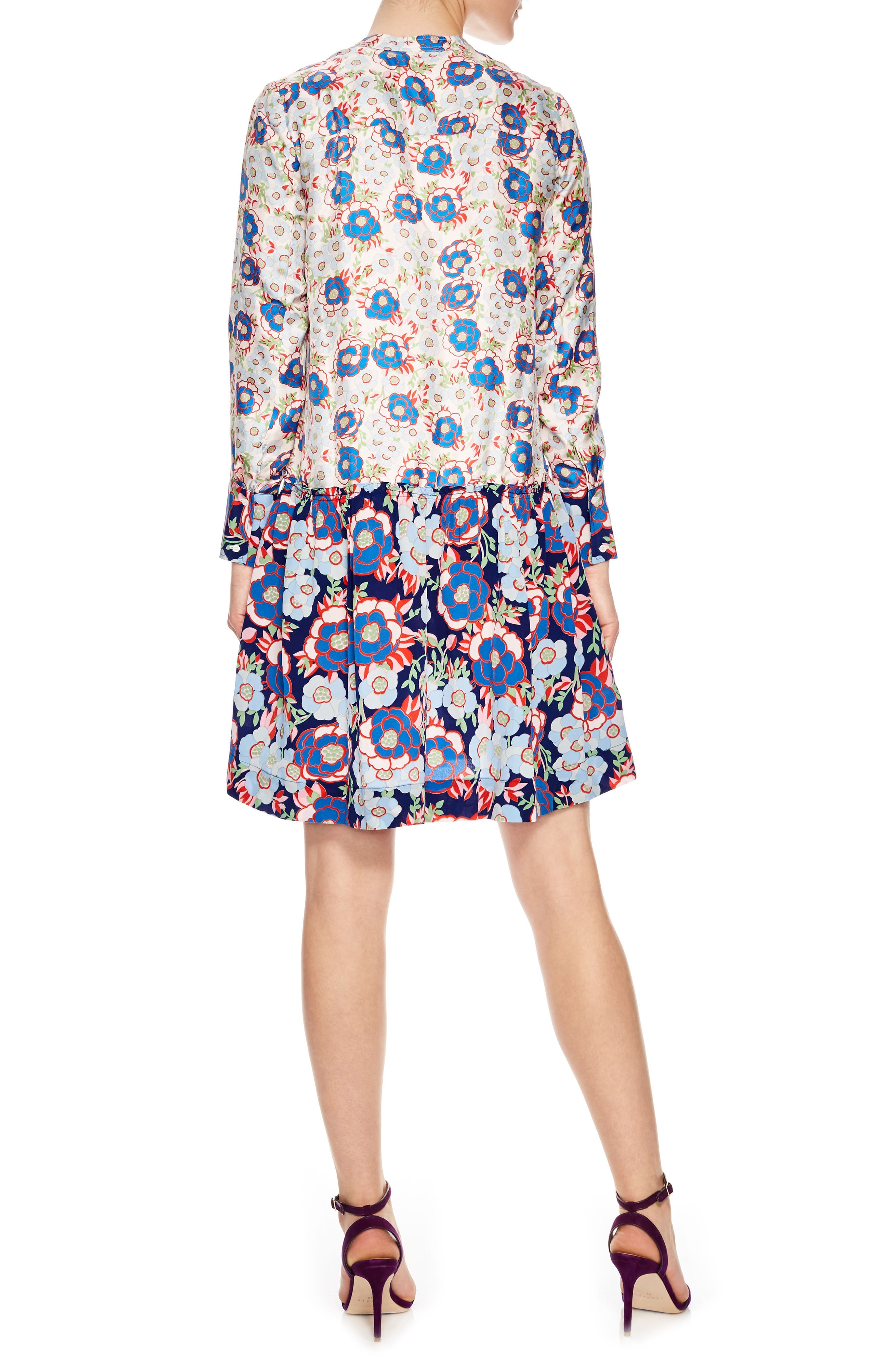 Multicolor Pattern Silk Dress,                             Alternate thumbnail 2, color,                             Multi-Color